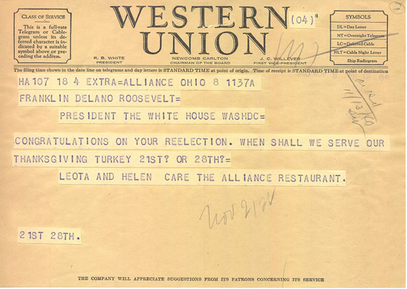 FDR Telegram Asking When to Serve Turkey