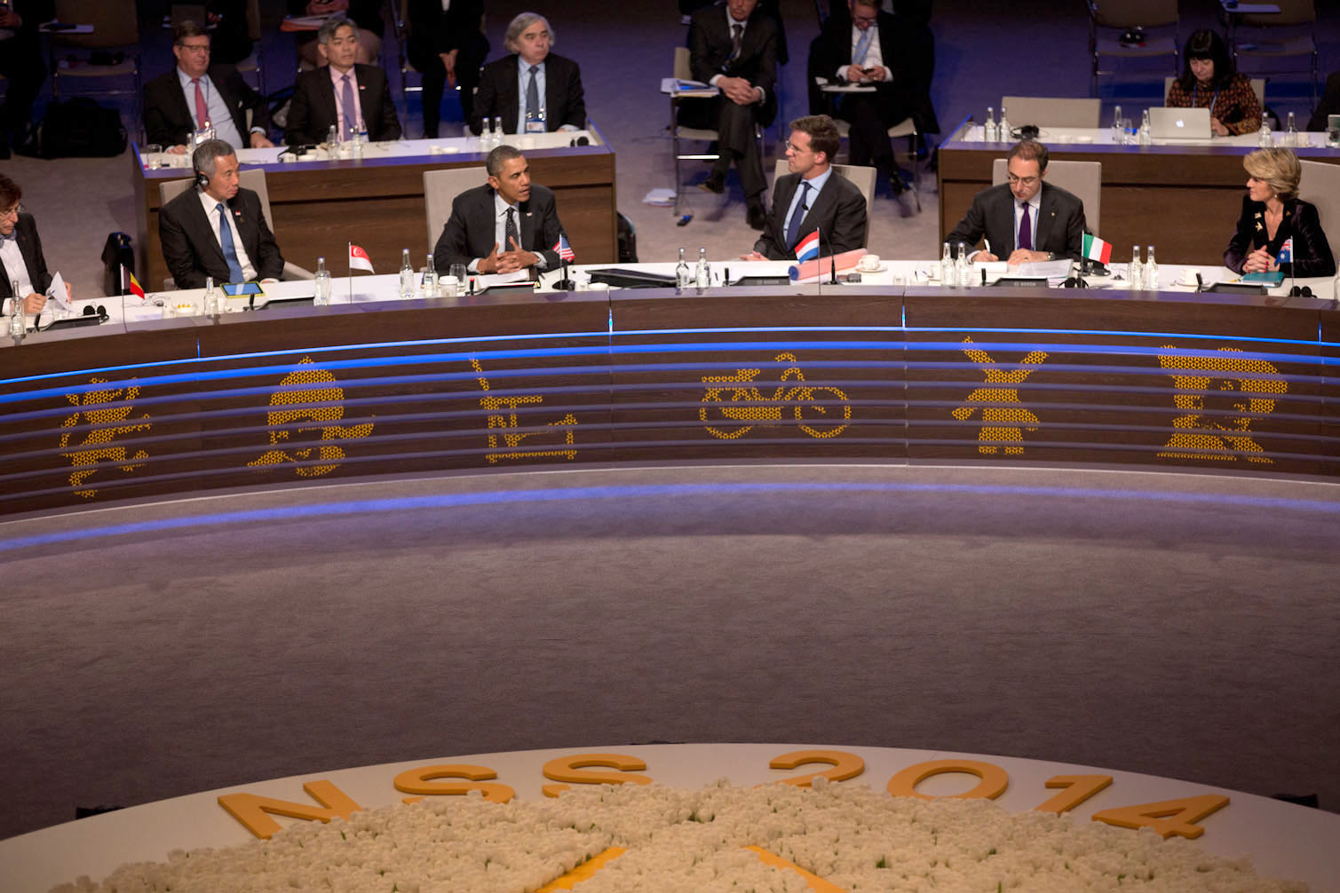President Barack Obama participates in a third plenary session during the 2014 Nuclear Security Summit at the World Forum, The Hague, the Netherlands