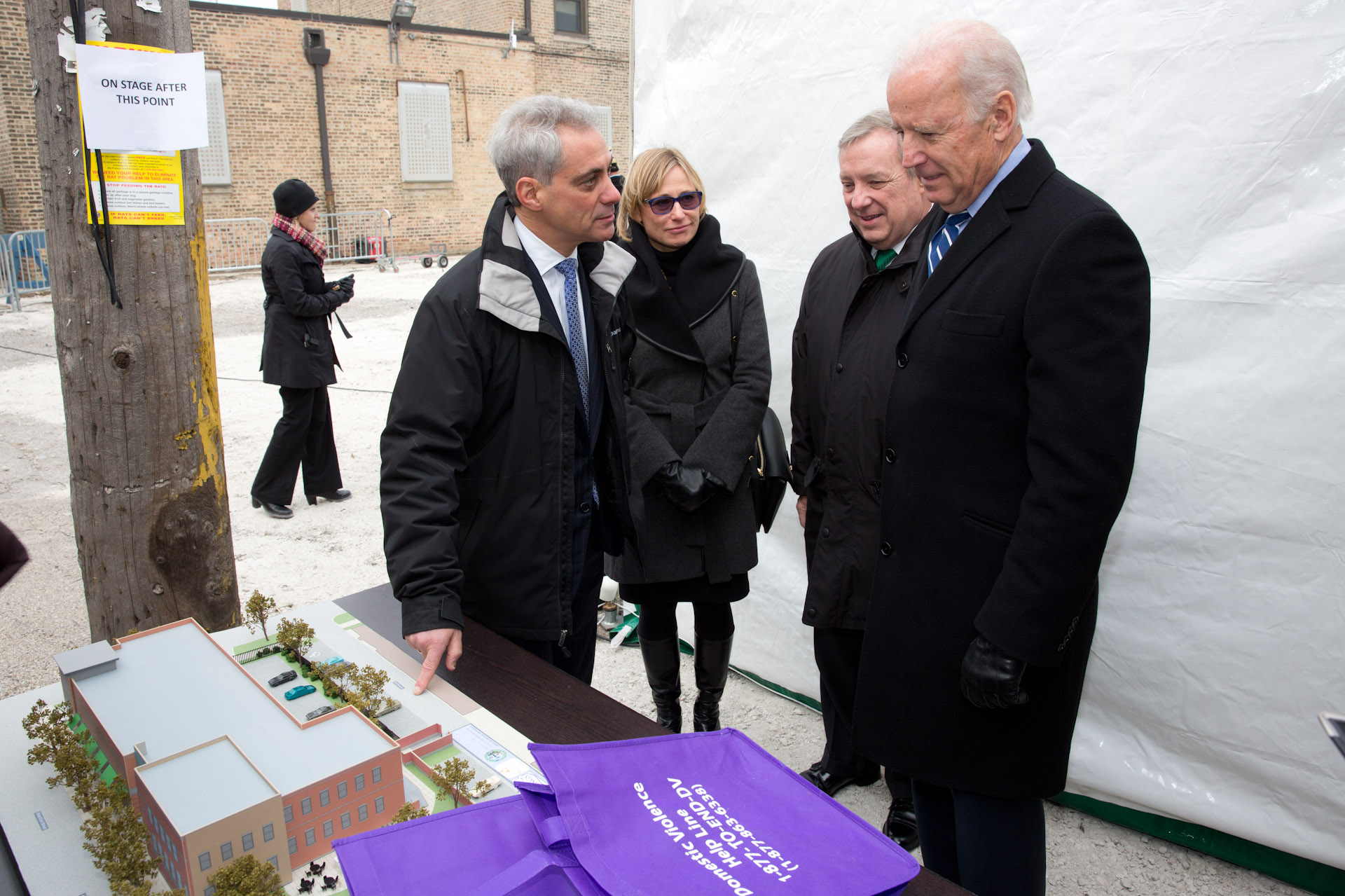 Vice President Joe Biden with Sen. Dick Durbin, Chicago Mayor Rahm Emanuel and his wife Amy Rule backstage at the groundbreaking of a shelter for battered women