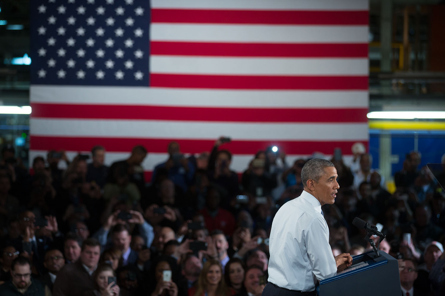 President Obama delivers remarks at the Ford Michigan Assembly Plant