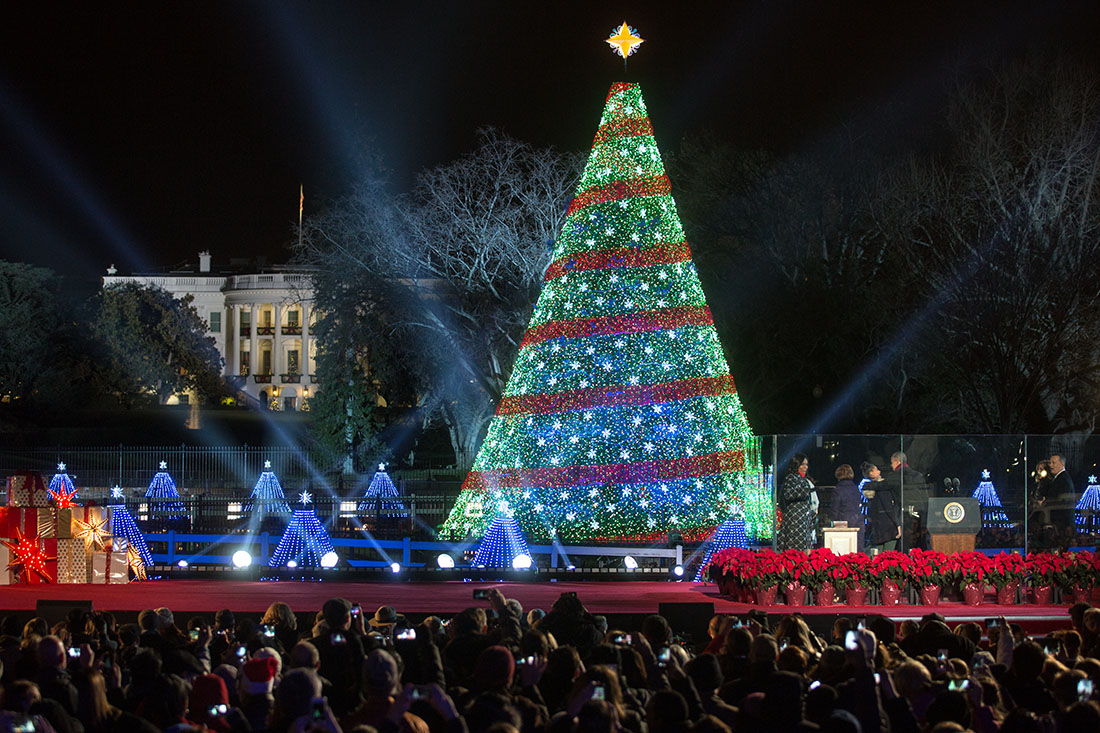 the first family participates in the national christmas tree lighting