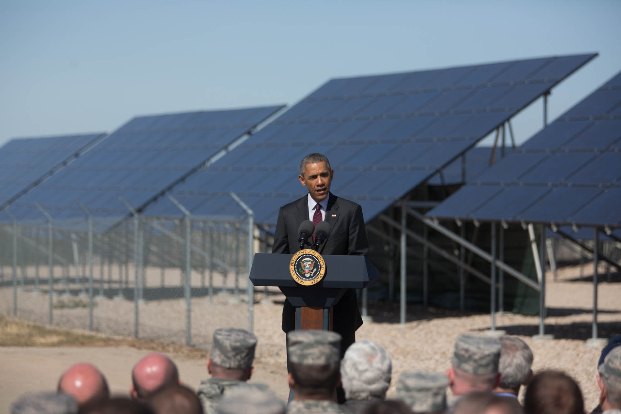 President Obama delivers remarks in front of a solar array at Hill Air Force Base in Layton, Utah