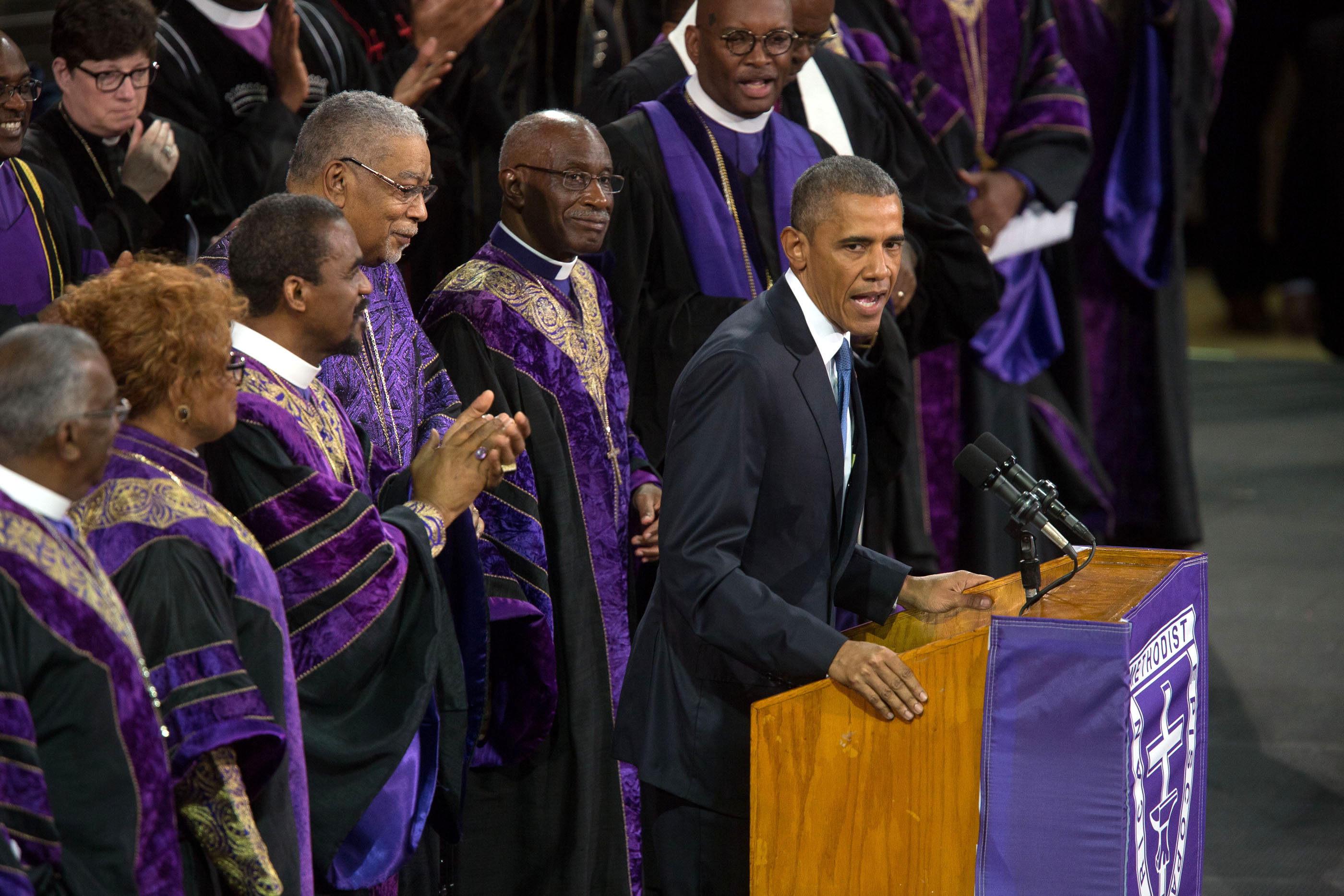 President Obama delivers the eulogy at the funeral of Reverend Clementa Pinckney