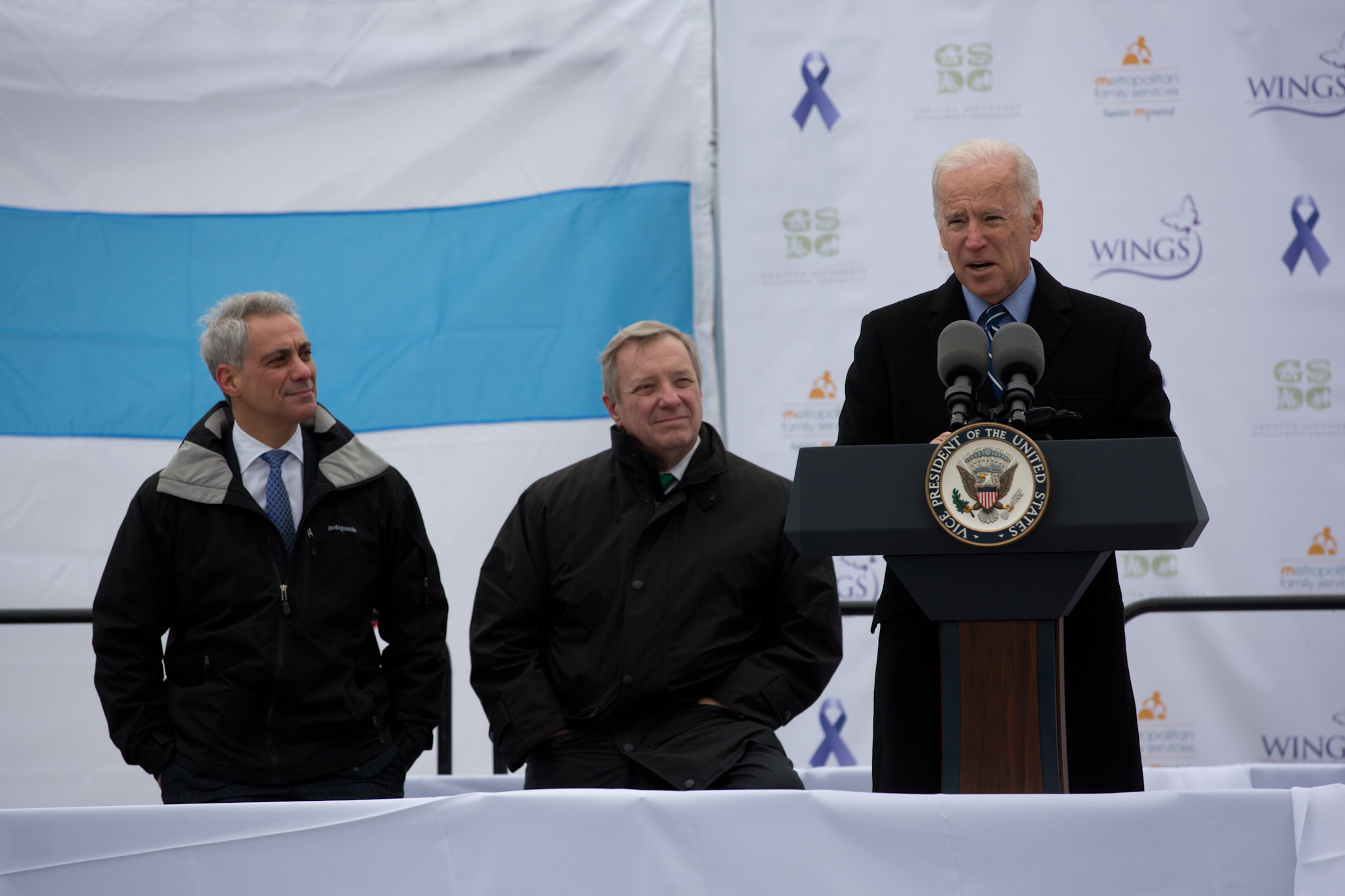Vice President Joe Biden delivers remarks with Sen. Dick Durbin and Chicago Mayor Rahm Emanuel at the groundbreaking of a shelter for battered women