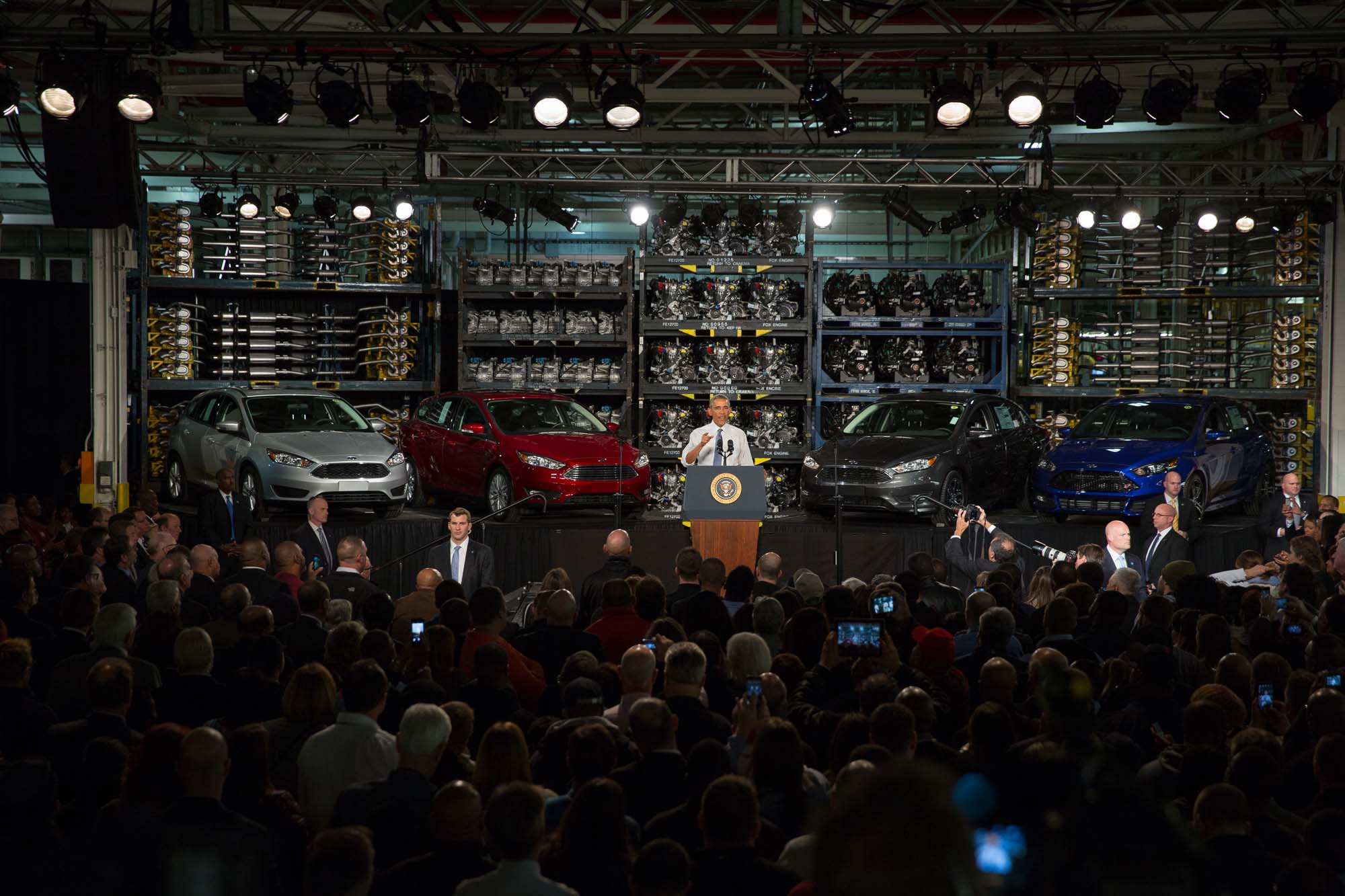 President Obama speaks at the Ford Michigan Assembly Plant