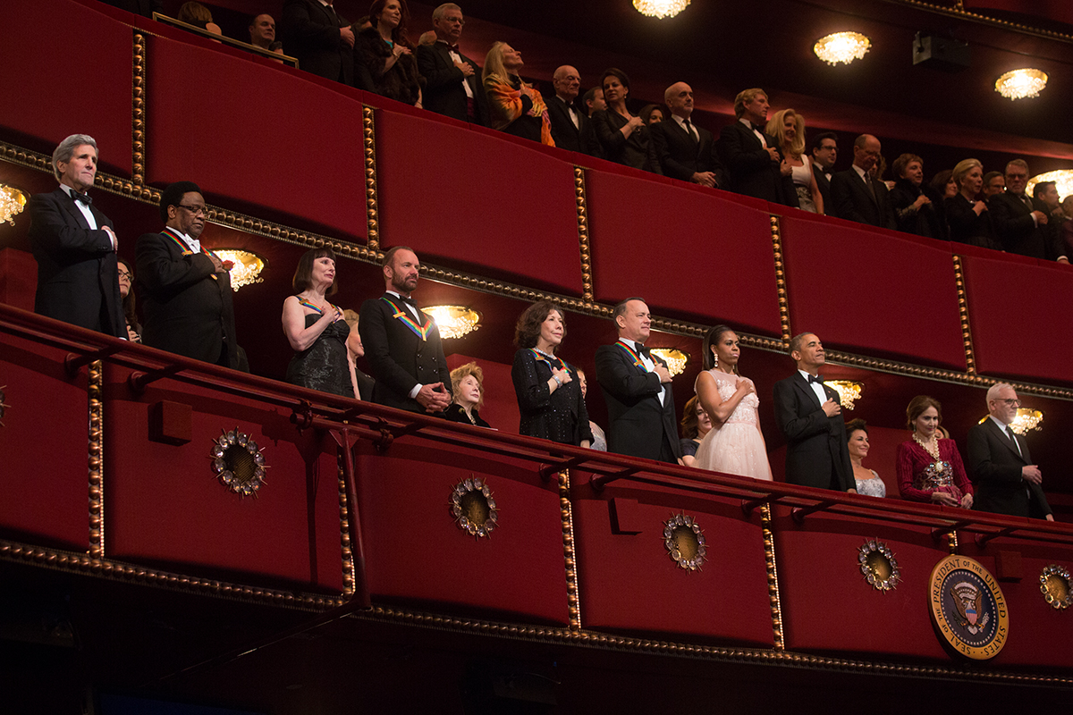 The President and First Lady with Secretary Kerry and the Kennedy Center Honorees at the Kennedy Center