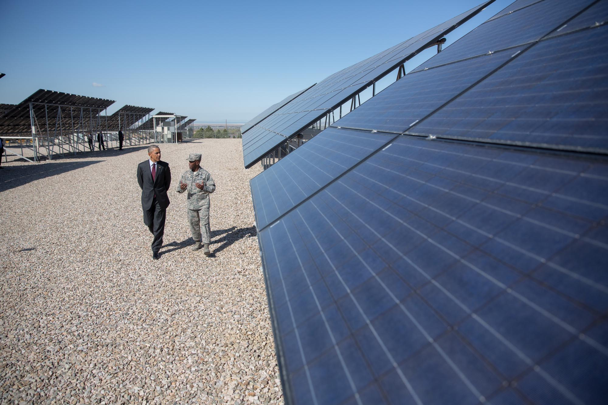 President Obama, with Col. Ronald E. Jolly,  Commander, 75th Air Base Wing, tours the solar array at Hill Air Force Base in Layton, Utah