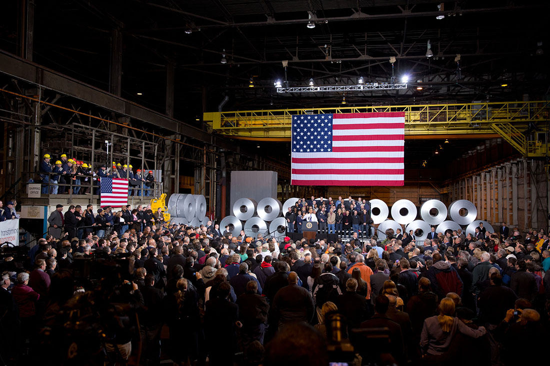 President Barack Obama  delivers remarks at Arcelormittal Steel factory in Cleveland, Ohio