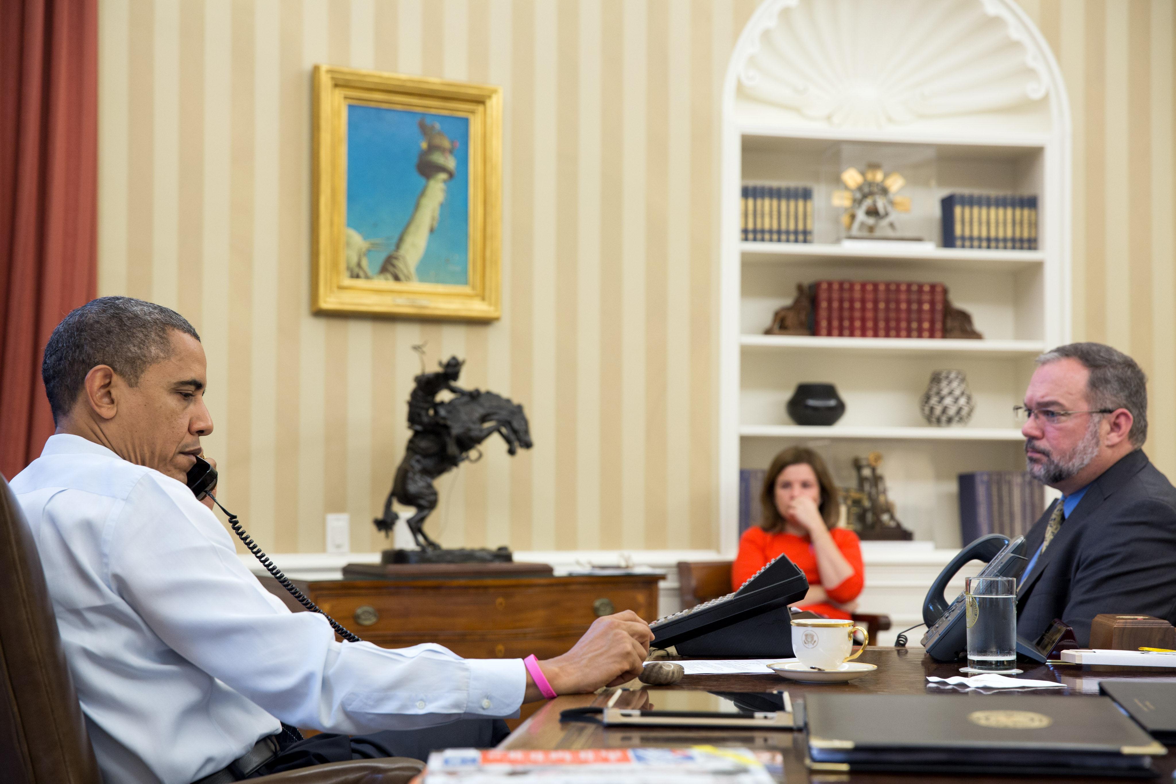 President Obama receives an update on the ongoing response to Hurricane Sandy (October 26, 2012)