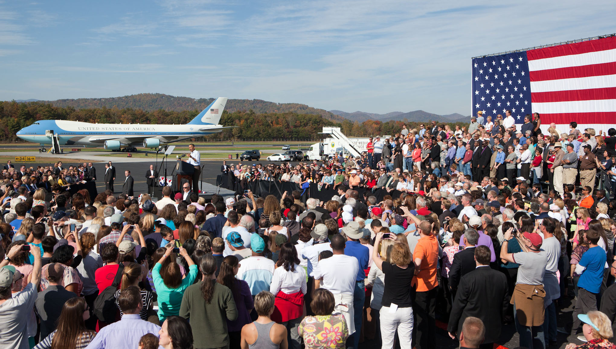 President Obama speaks at Asheville Regional Airport