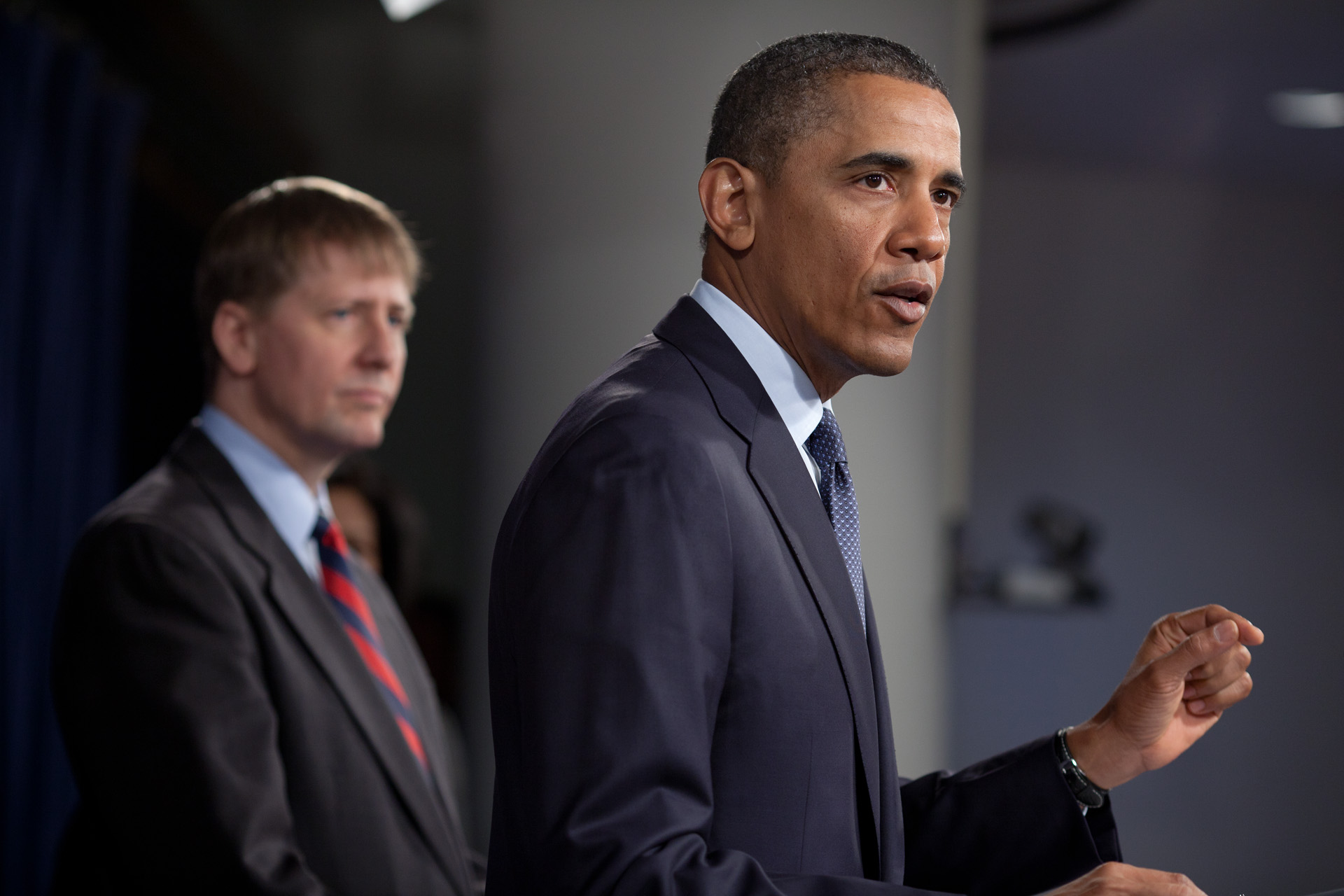 President Obama with Richard Cordray (20120106)