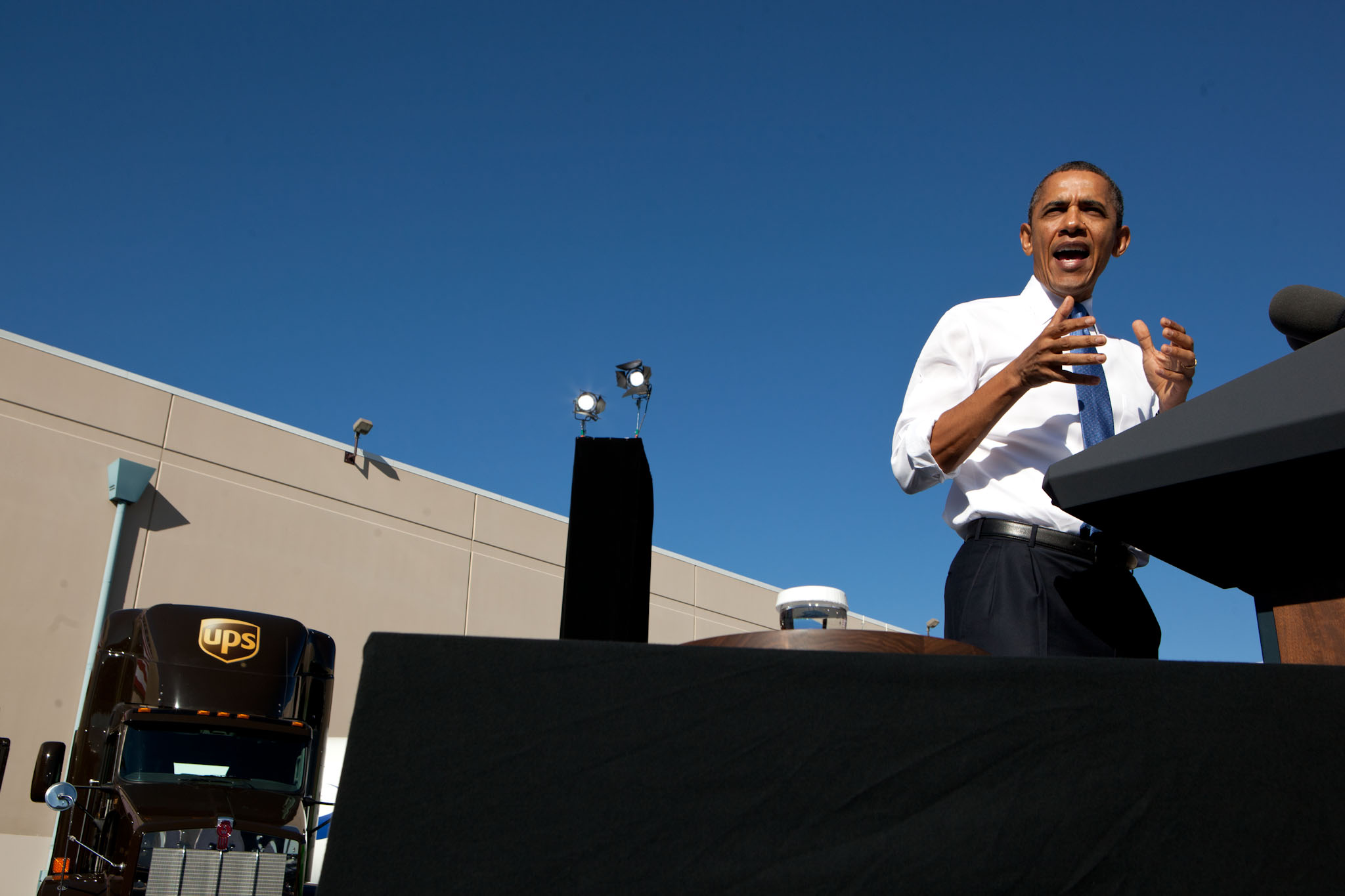 President Barack Obama delivers remarks on energy at UPS Las Vegas South