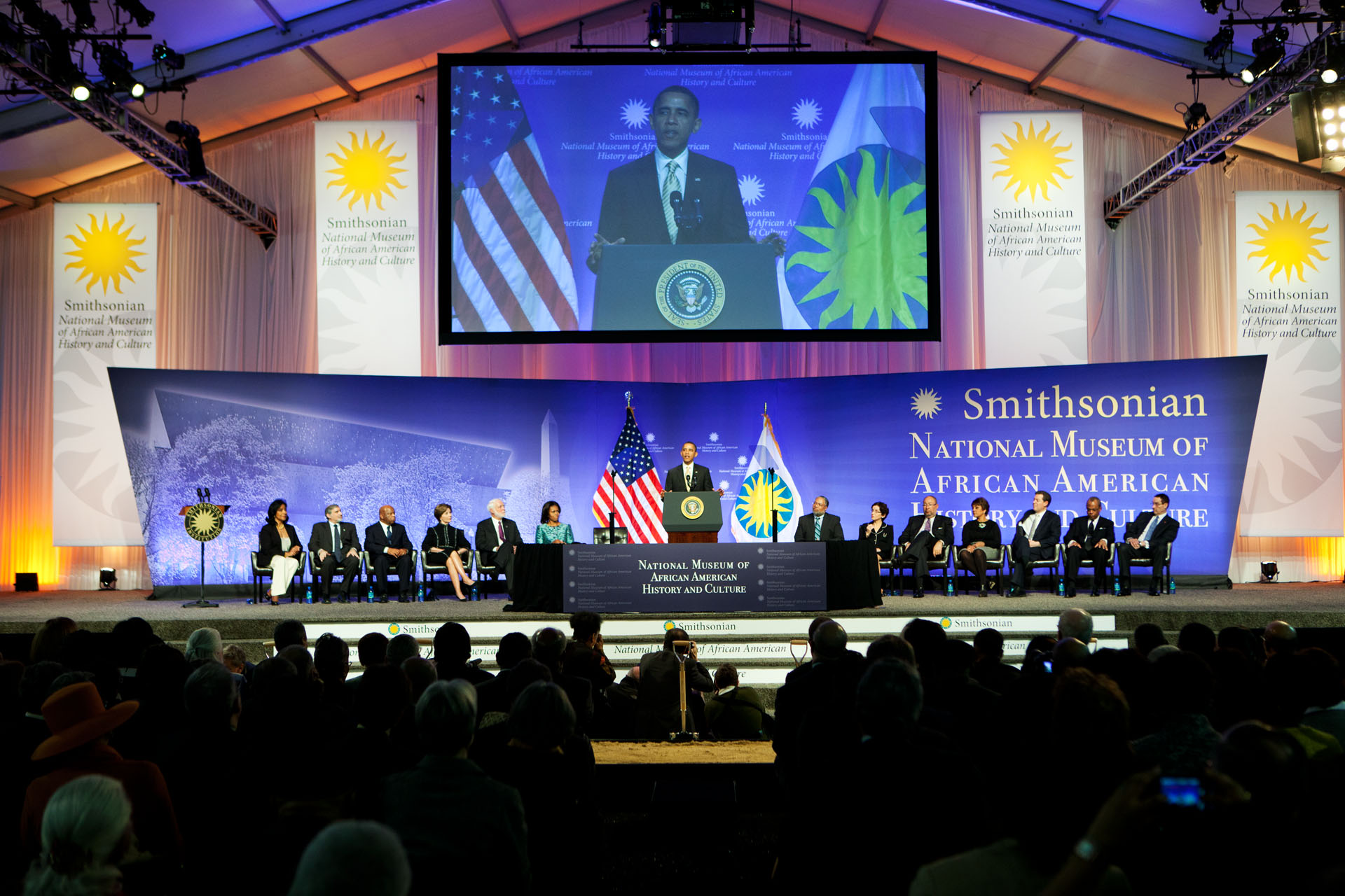 President Obama delivers remarks during the groundbreaking ceremony for the Smithsonian National Museum of African American History and Culture (February 22, 2012)