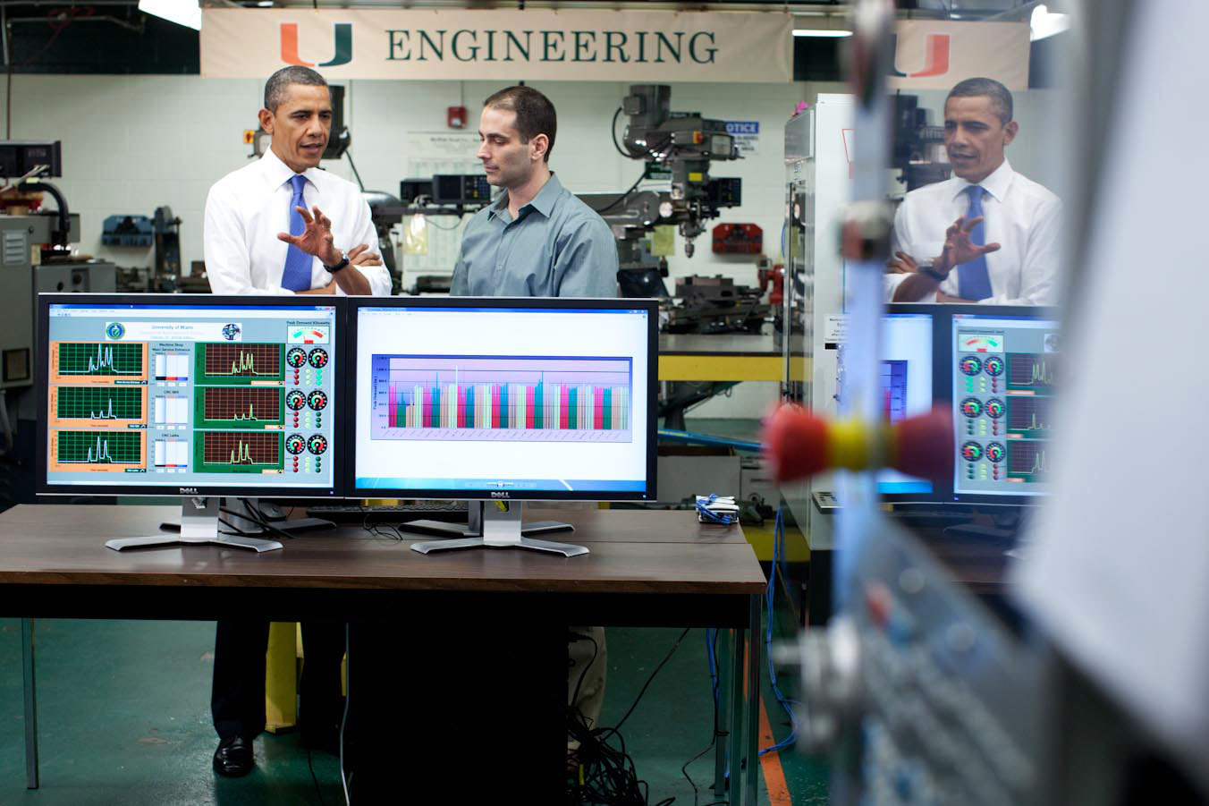 President Barack Obama tours the University of Miami Industrial Assessment Center (February 23, 2012)