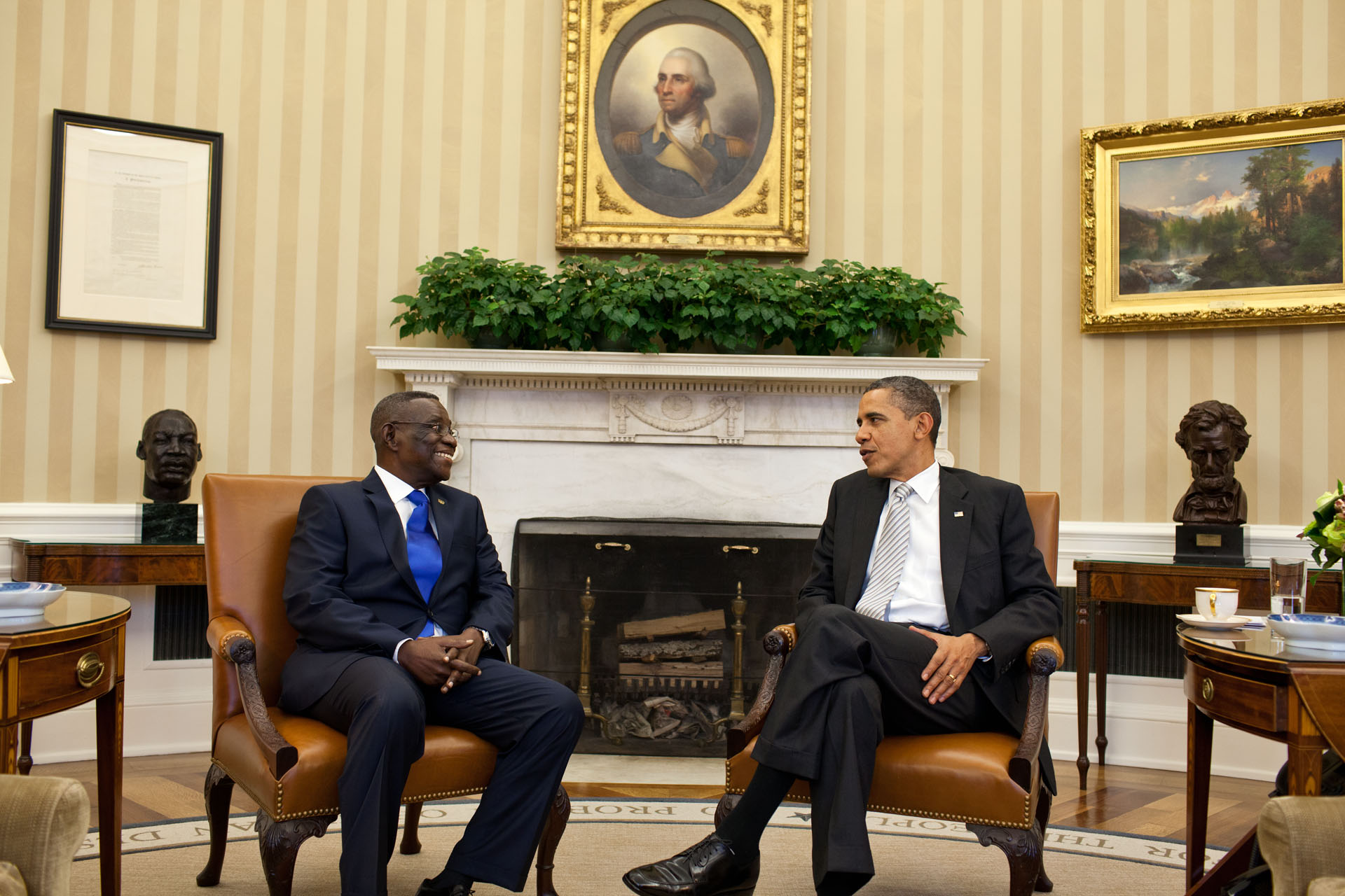 President Barack Obama and President John Evans Atta Mills (March 8, 2012)