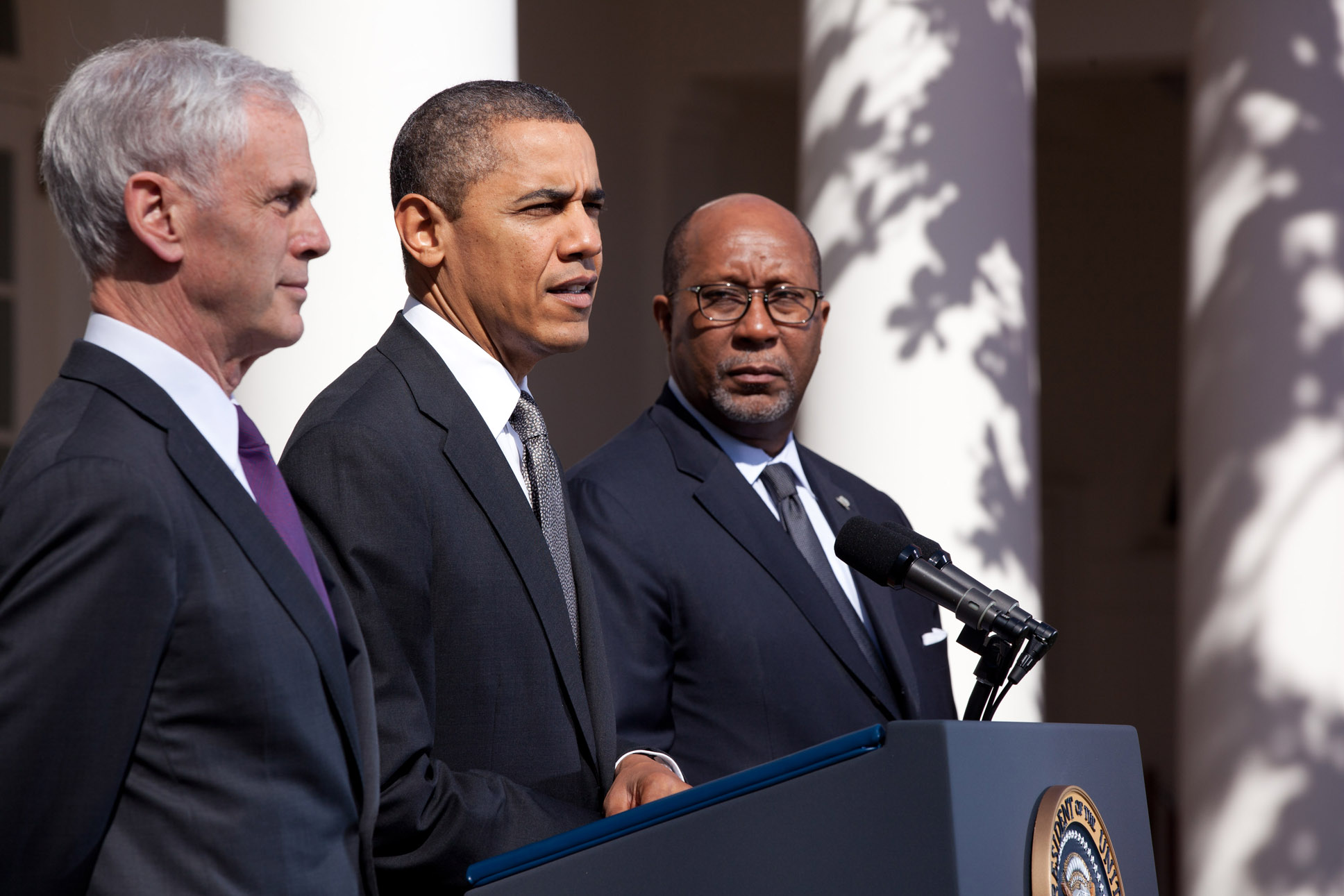 President Barack Obama delivers a statement on exports and trade from the Rose Garden (March 13, 2012)