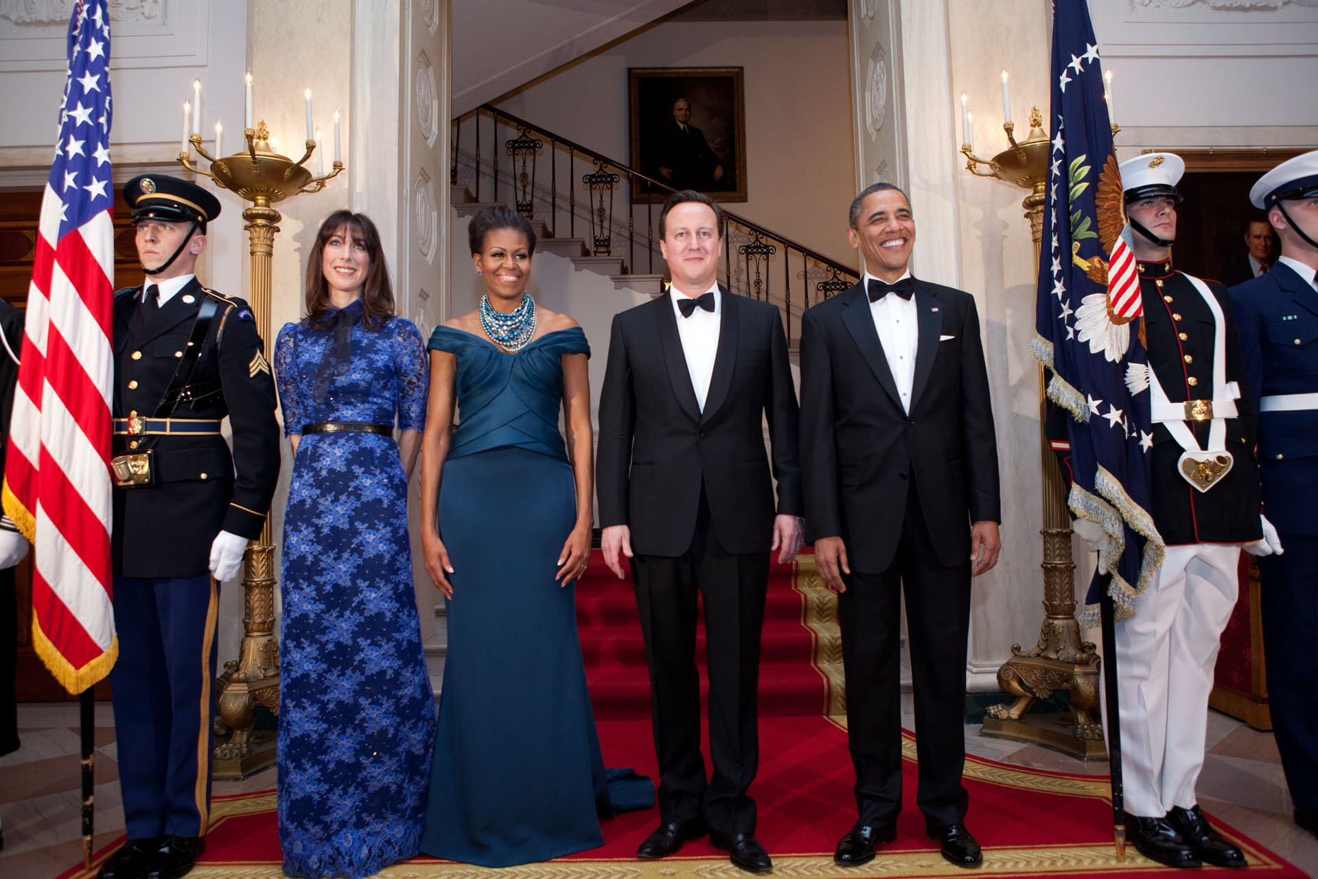 President Obama, the First Lady, Prime Minister Cameron, and Samantha Cameron pose for an official State Dinner photo (March 14, 2012)