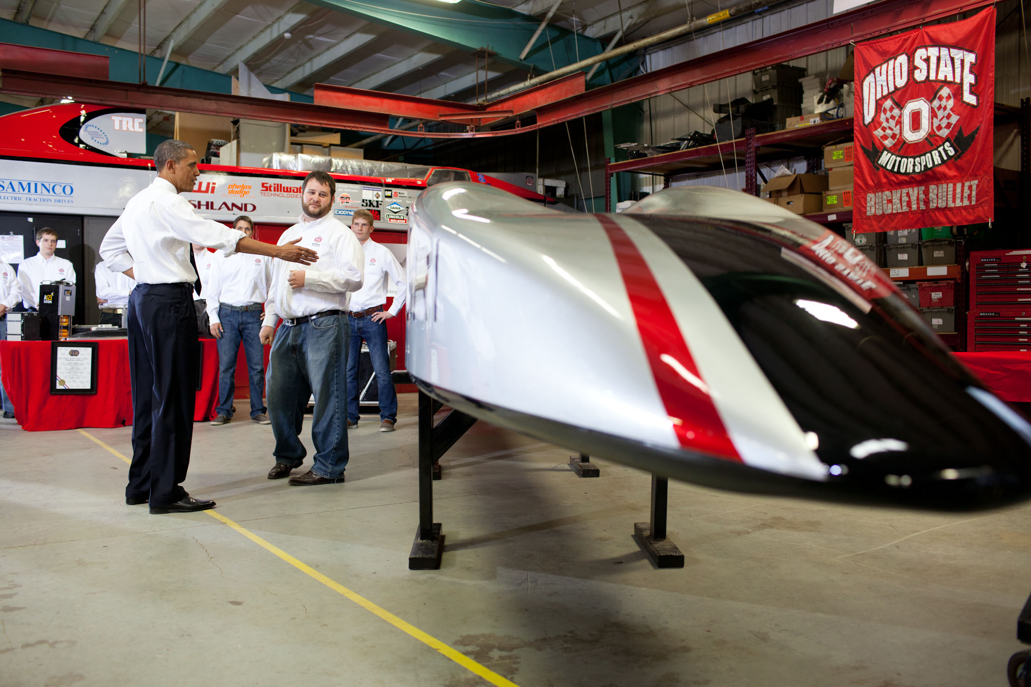 President Barack Obama looks at the Buckeye Bullet (March 22, 2012)