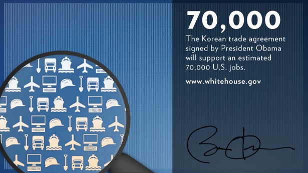 The Korean trade agreement will support an estimated 70,000 jobs