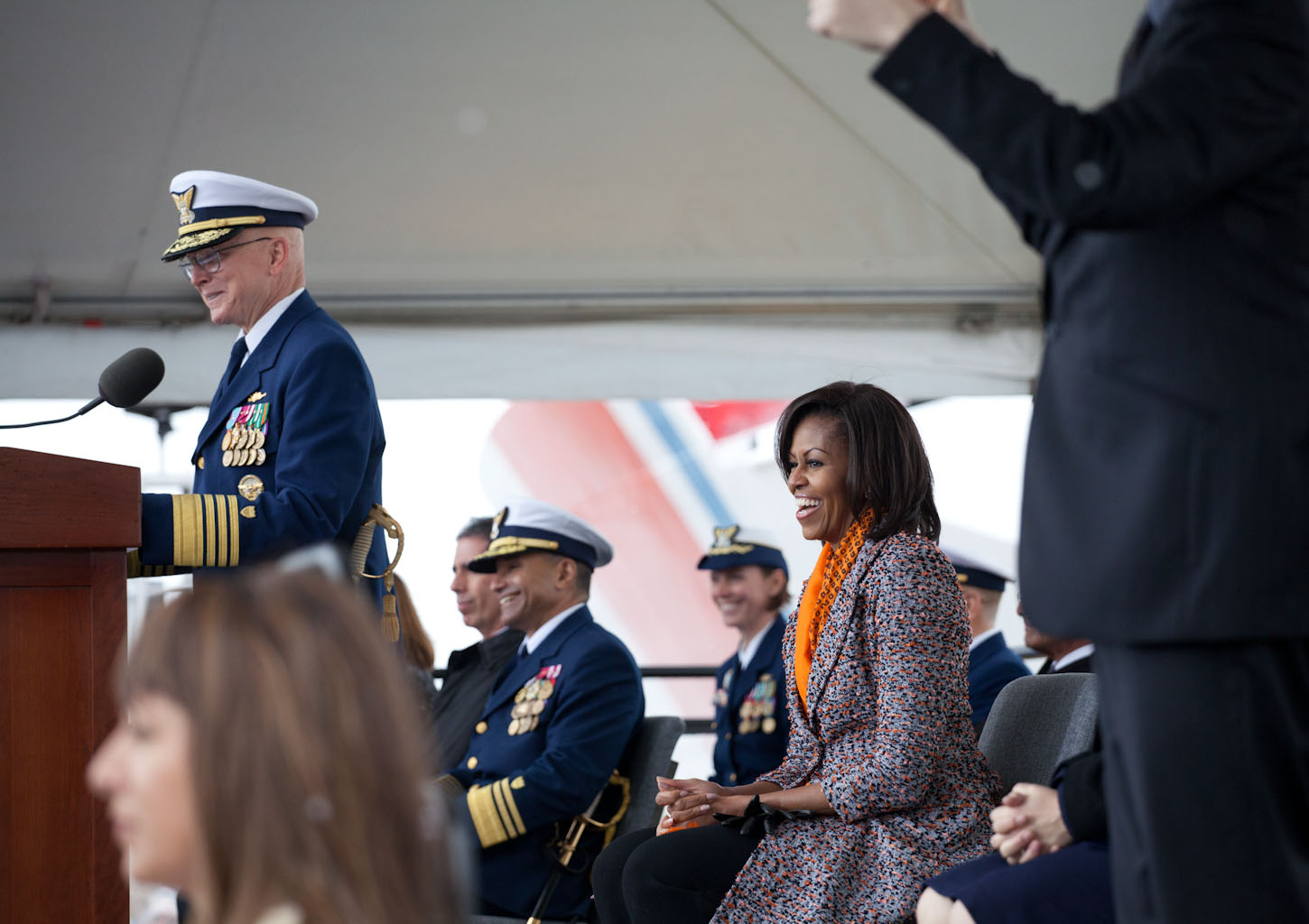 First Lady Michelle Obama at the ceremony to commission the U.S. Coast Guard Cutter Stratton (April 1, 2012)