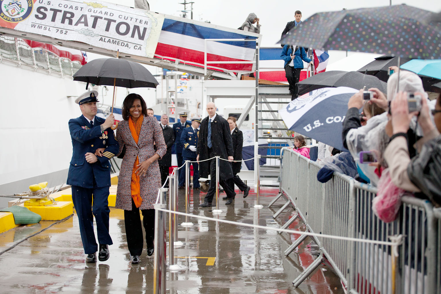 First Lady Michelle Obama arrives at the ceremony to commission the U.S. Coast Guard Cutter Stratton (April 1, 2012)