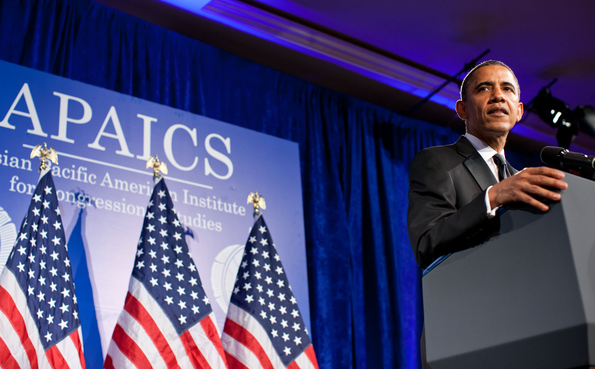 President Barack Obama delivers the keynote address at the APAICS 18th Annual Gala Dinner (May 8, 2012)