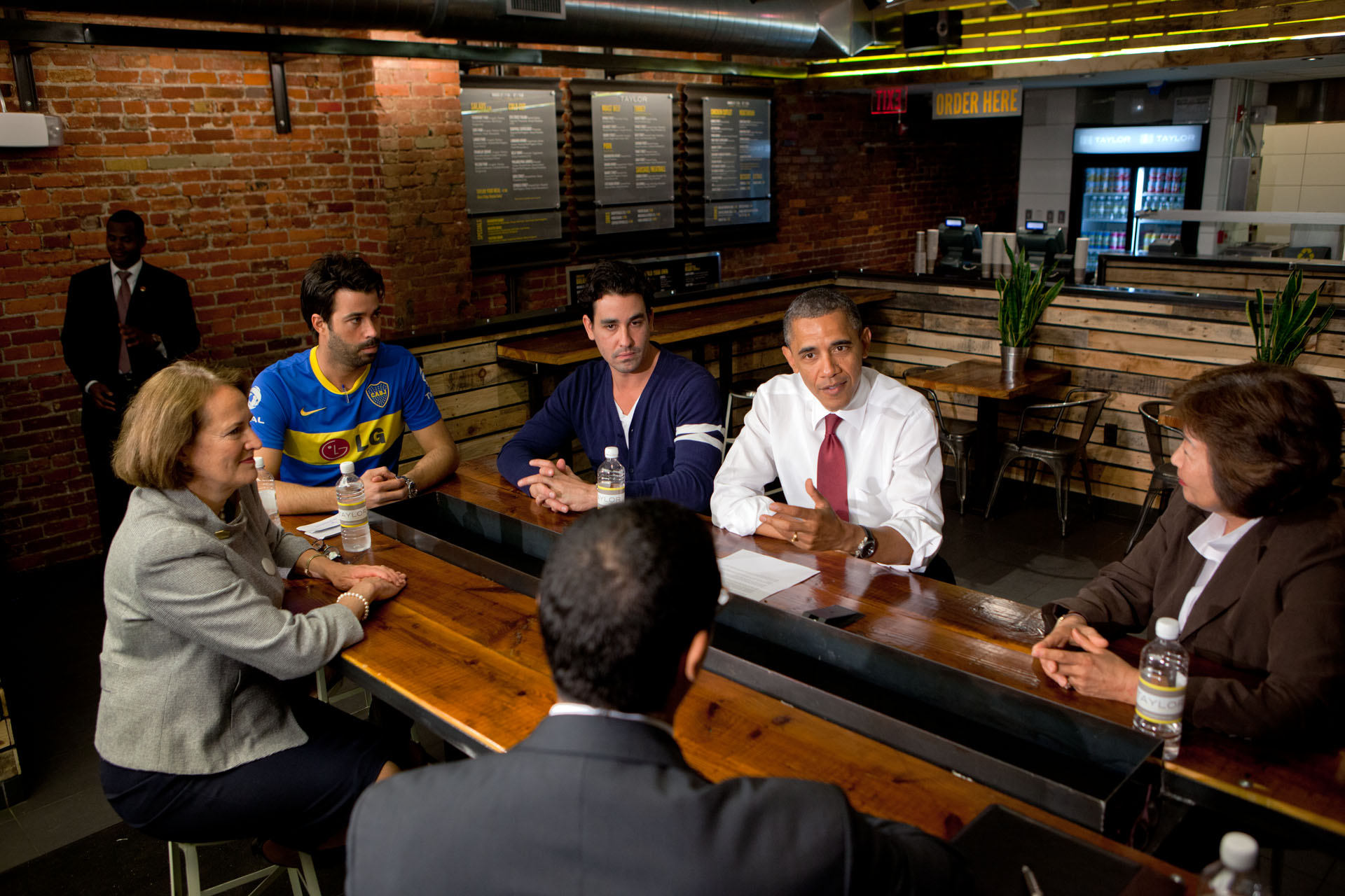 President Barack Obama participates in a roundtable with small business owners at Taylor Gourmet (May 16, 2012)