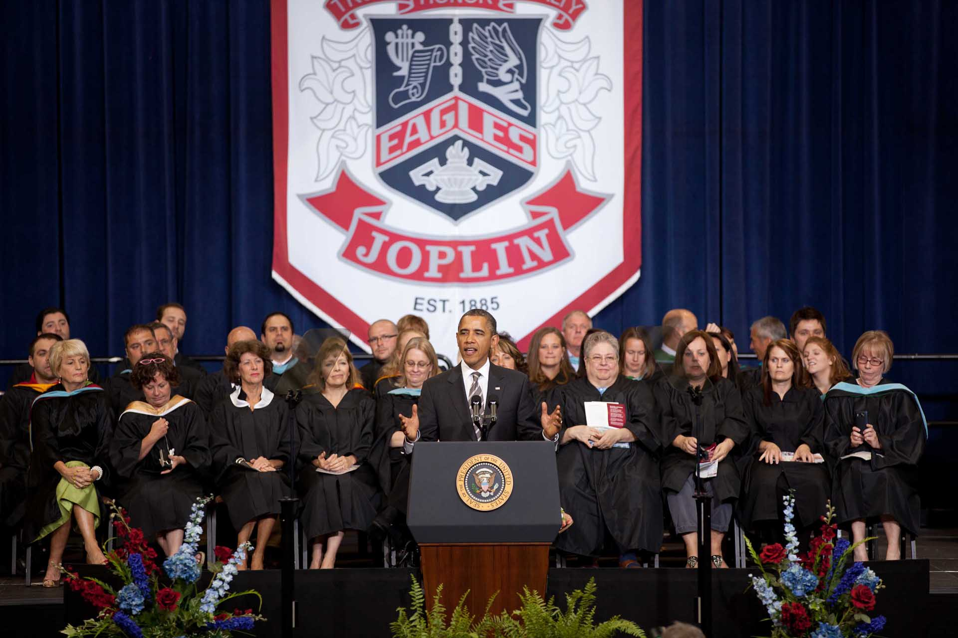 President Barack Obama delivers the commencement address to the graduating seniors of Joplin High School (May 21, 2012)