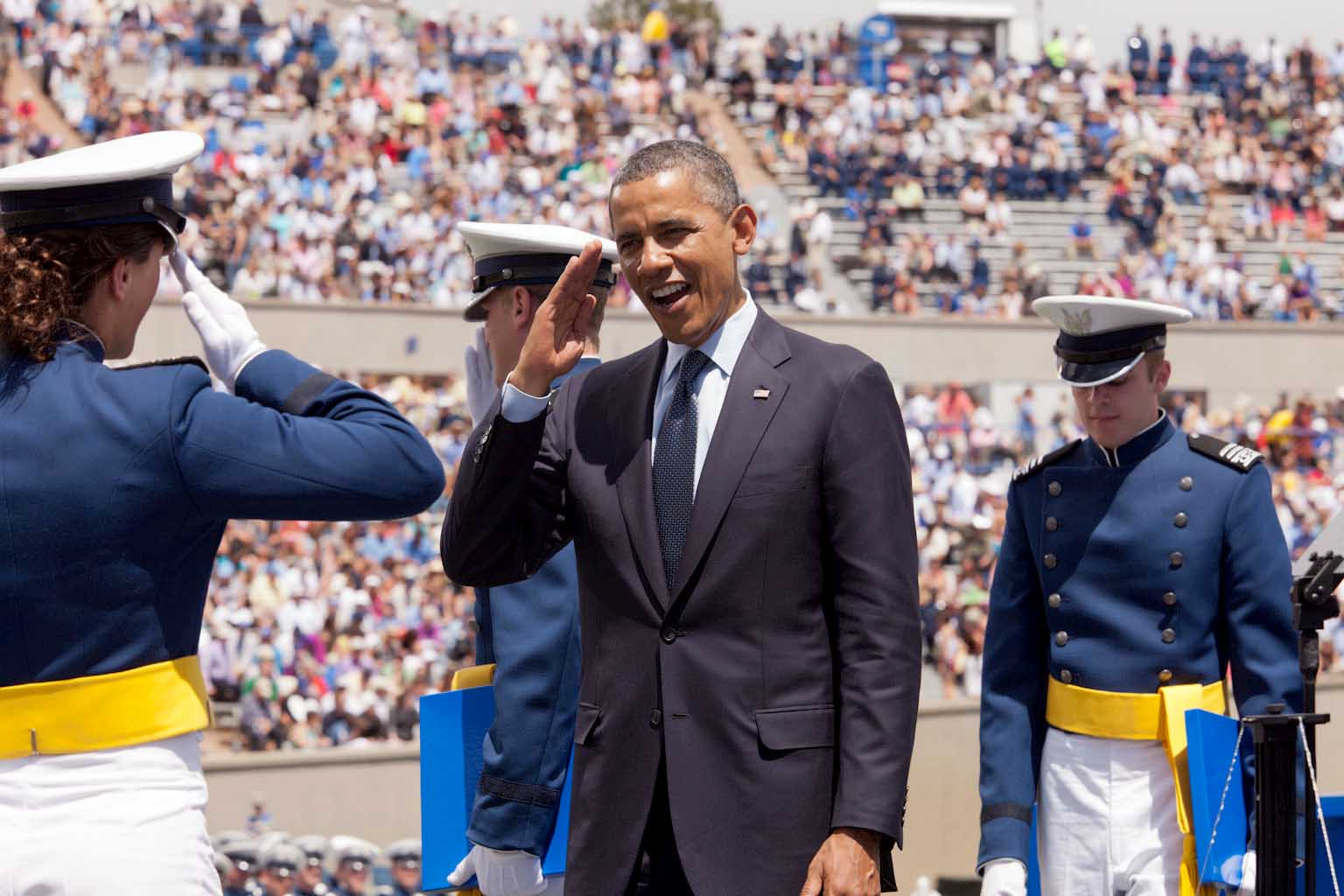 President Barack Obama salutes graduating cadets from the United States Air Force Academy (May 23, 2012)
