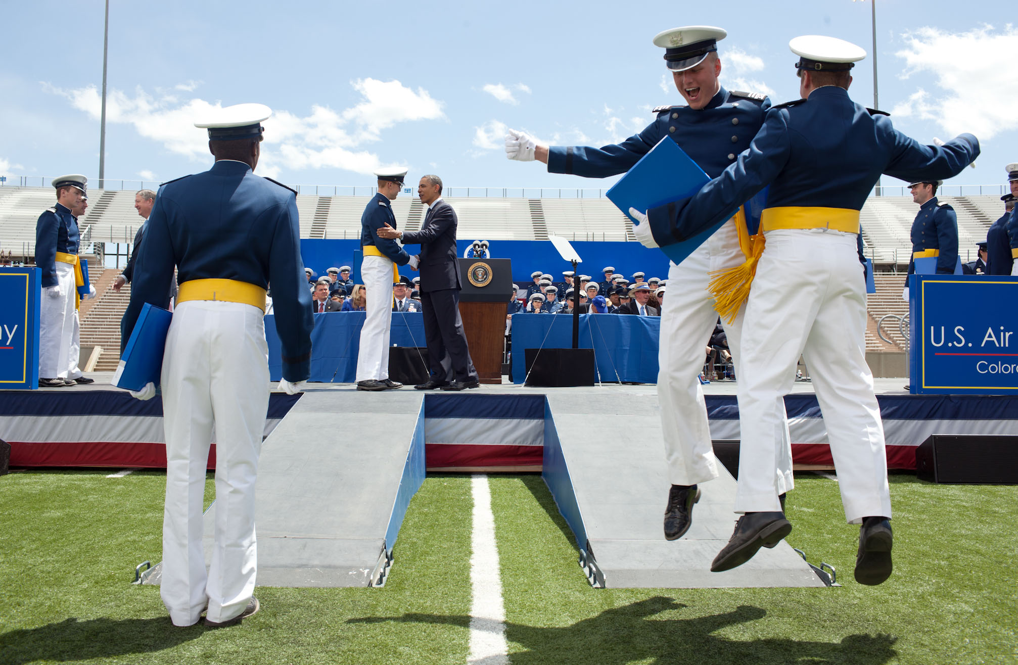 President Barack Obama participates in the United States Air Force Academy commencement ceremony (May 23, 2012)