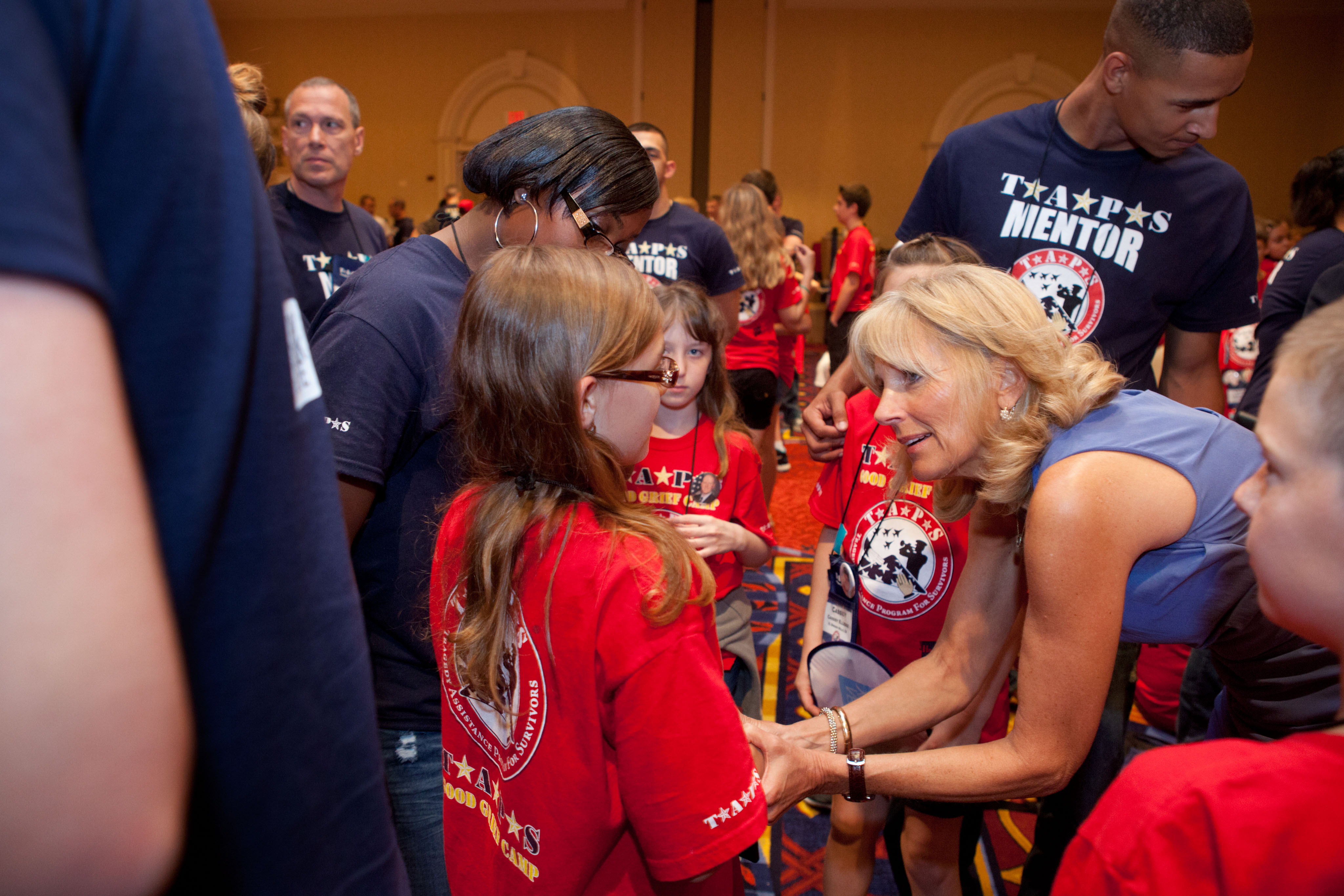 Dr. Jill Biden greets children at the TAPS National Military Survivor Seminar (May 25, 2012)