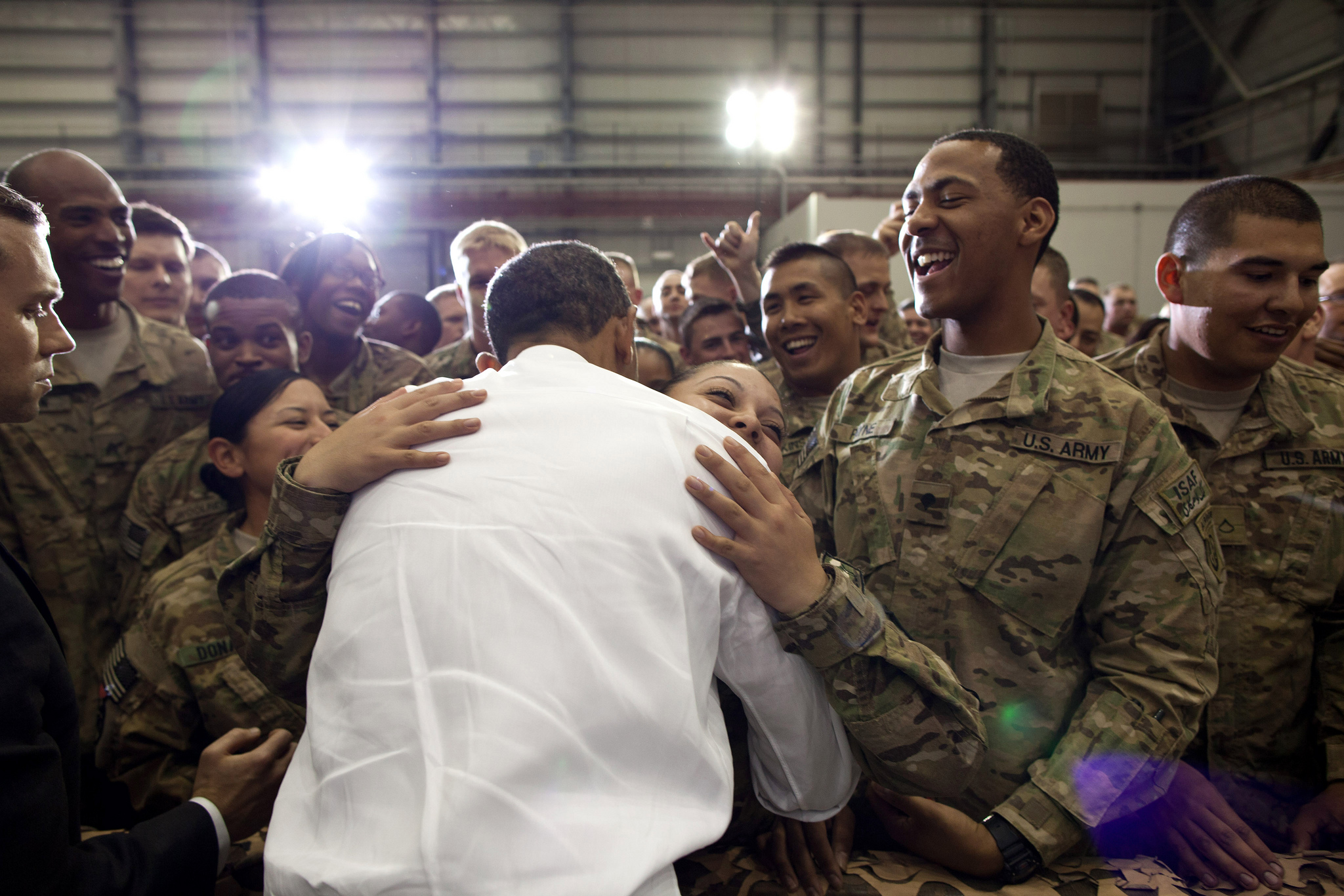 President Barack Obama greets U.S. troops in Afghanistan (May 1, 2012)