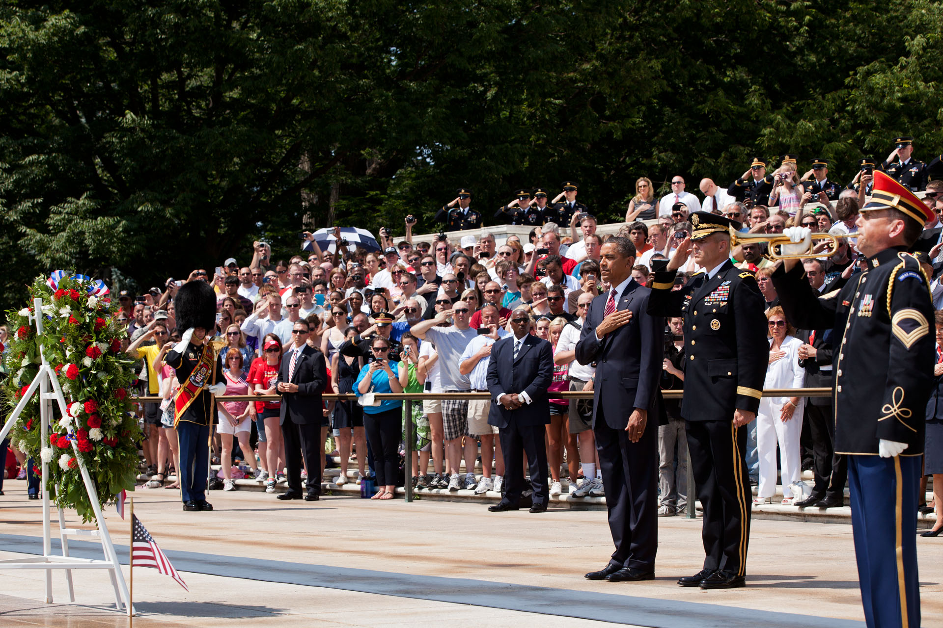 President Obama participates in a Memorial Day wreath laying at Arlington National Cemetery (May 28, 2012)