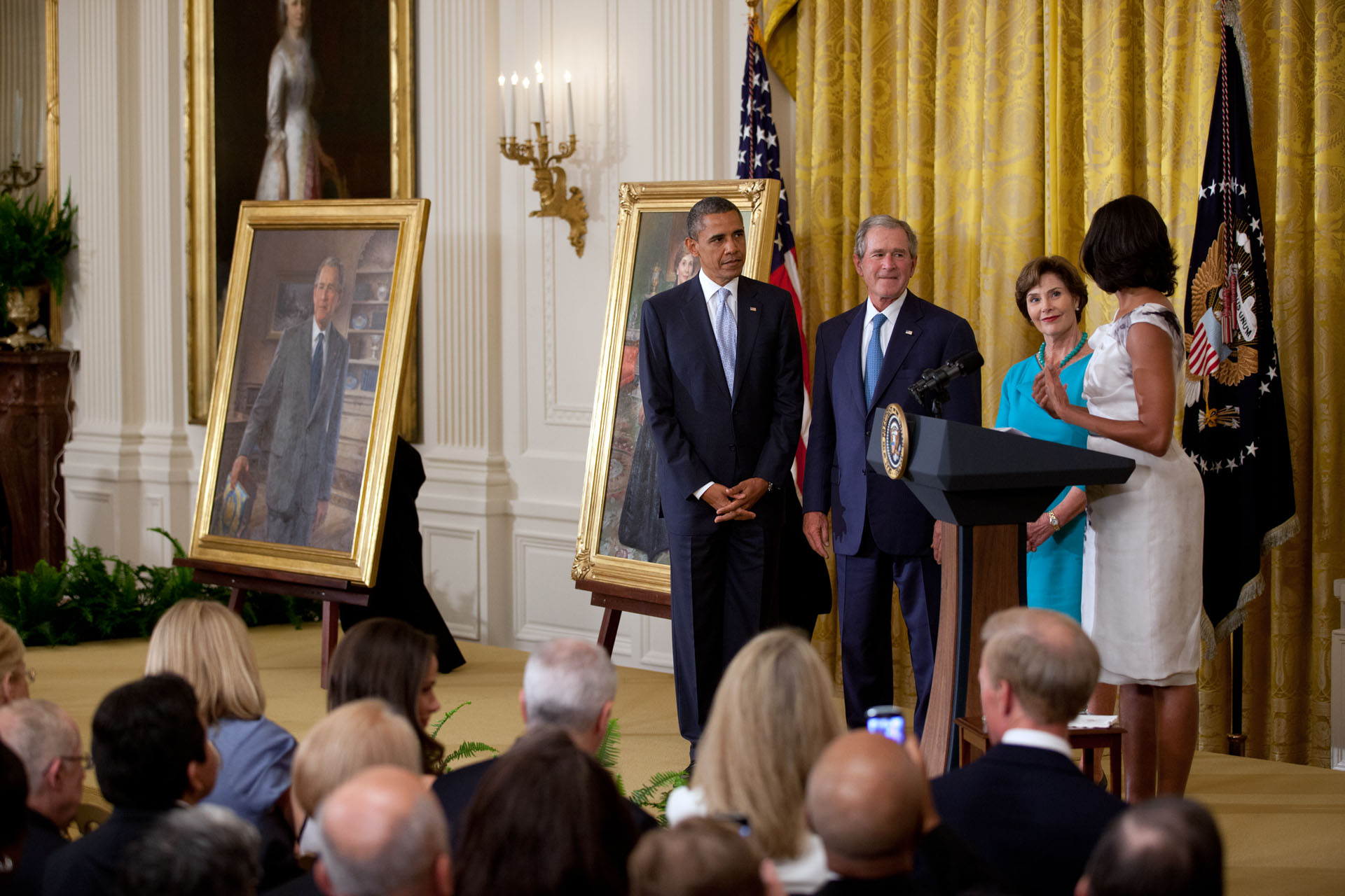 President Obama hosts a ceremony to unveil the official portraits of former President George W. Bush and former First Lady Laura Bush (May 31, 2012)