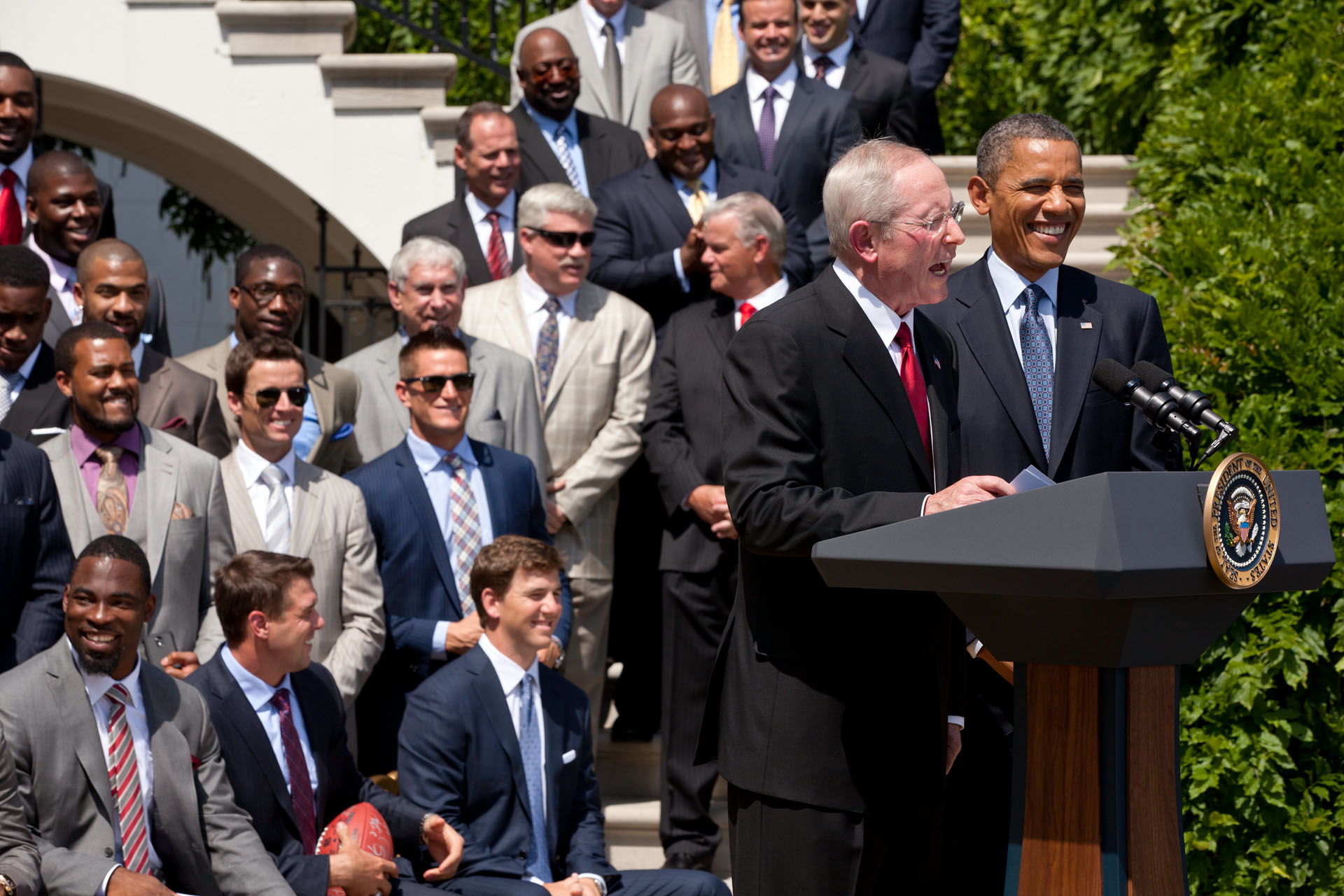 President Barack Obama welcomes the four-time Super Bowl Champion New York Giants to the White House (June 8, 2012)