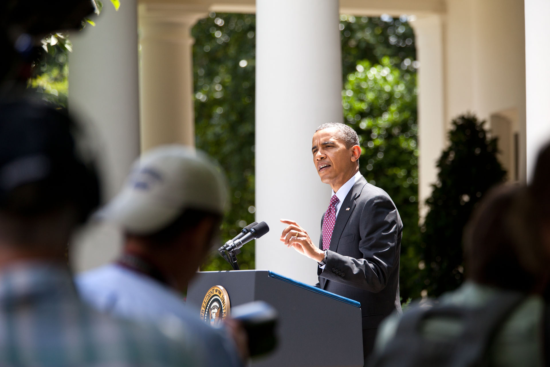 President Barack Obama delivers remarks in the Rose Garden of the White House (June 15, 2012)