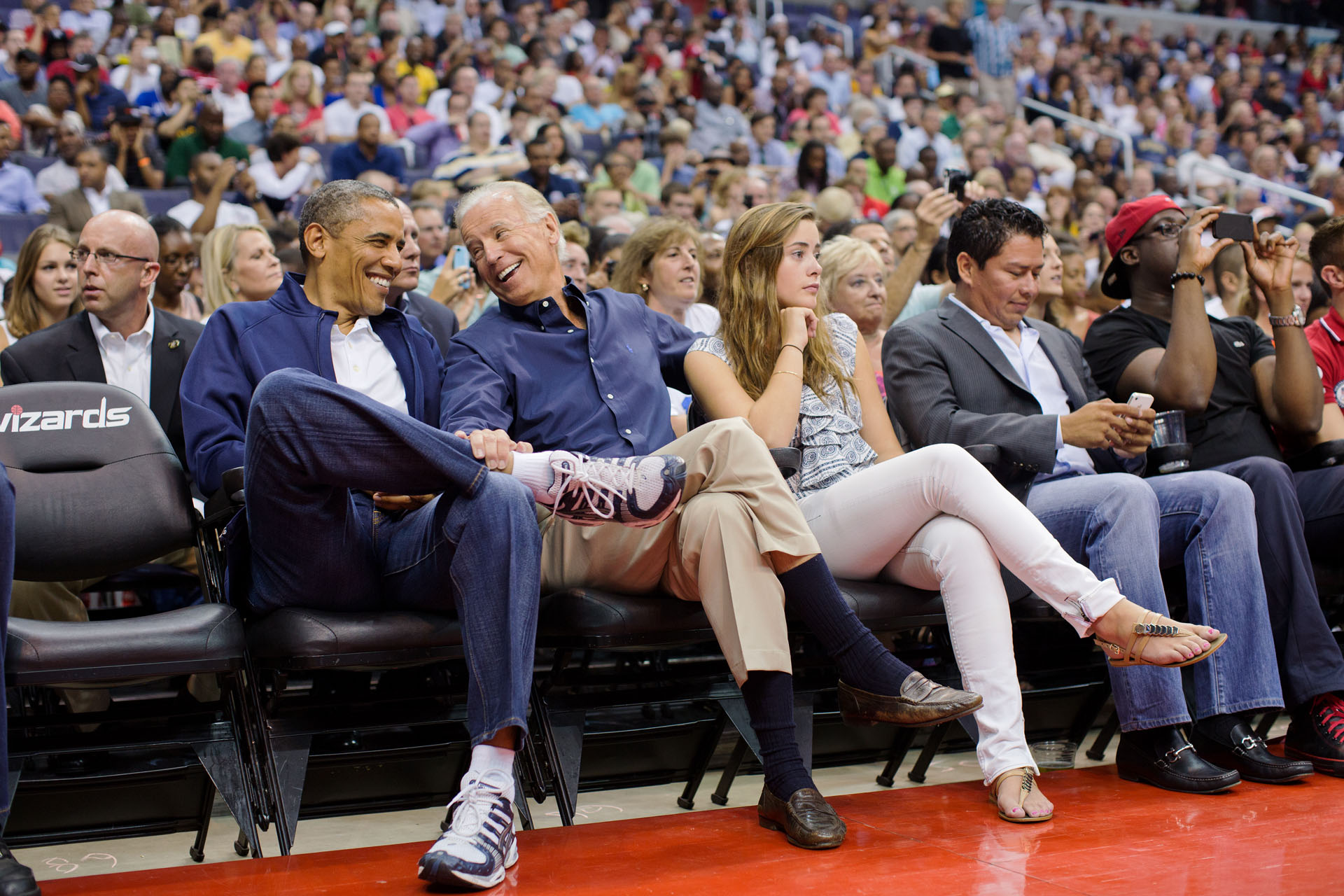 President Obama attends the U.S. Men's Olympic basketball team's game against Brazil (July 17, 2012)