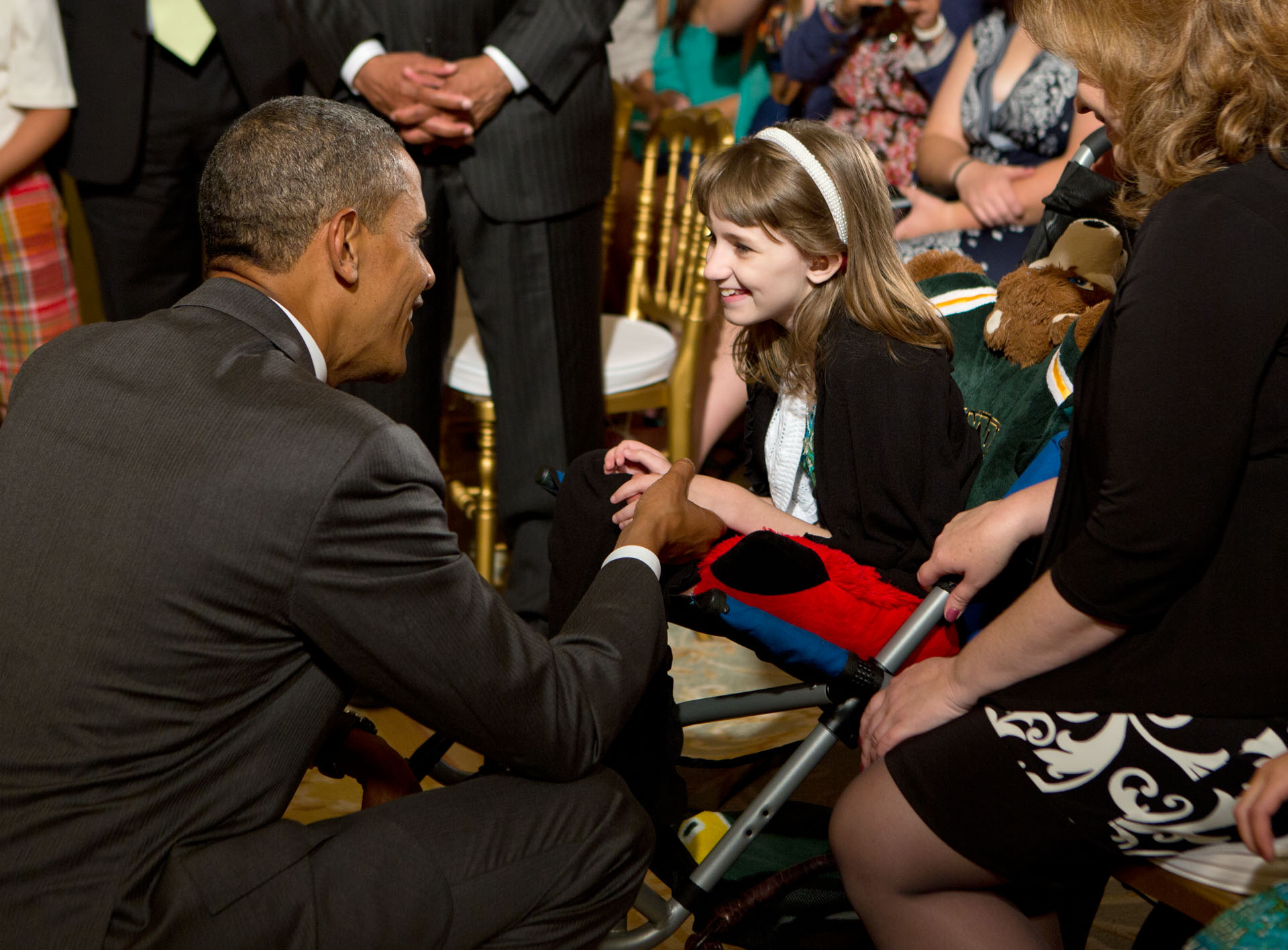 President Barack Obama greets Haley Klepper (July 18, 2012)