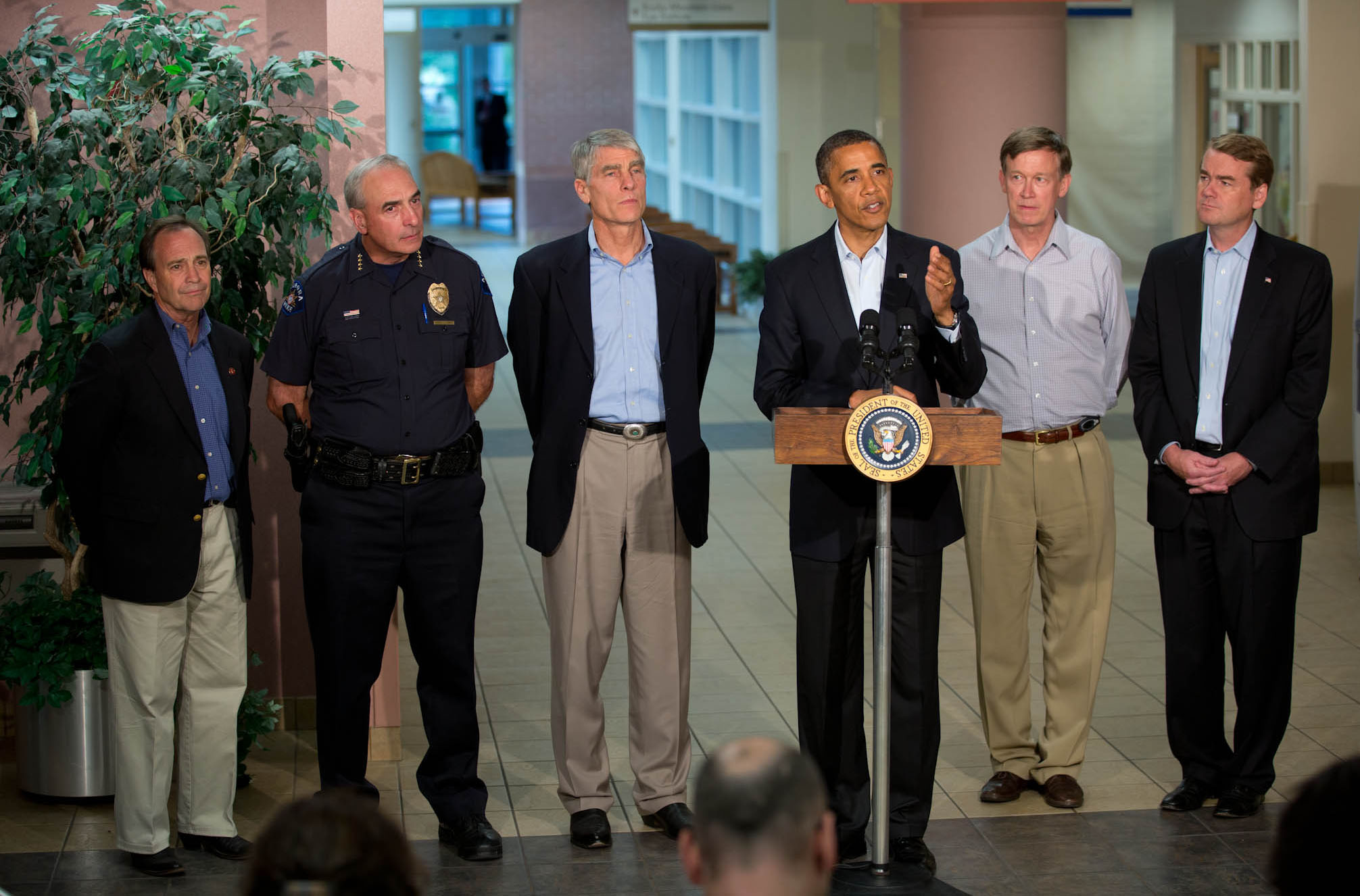 President Barack Obama makes a statement to the press at University of Colorado Hospital in Aurora (July 22, 2012)