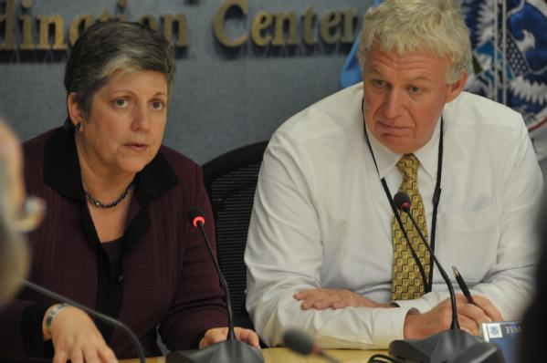 DHS Secretary Janet Napolitano and FEMA Deputy Administrator Richard Serino hold a briefing (August 28, 2012)