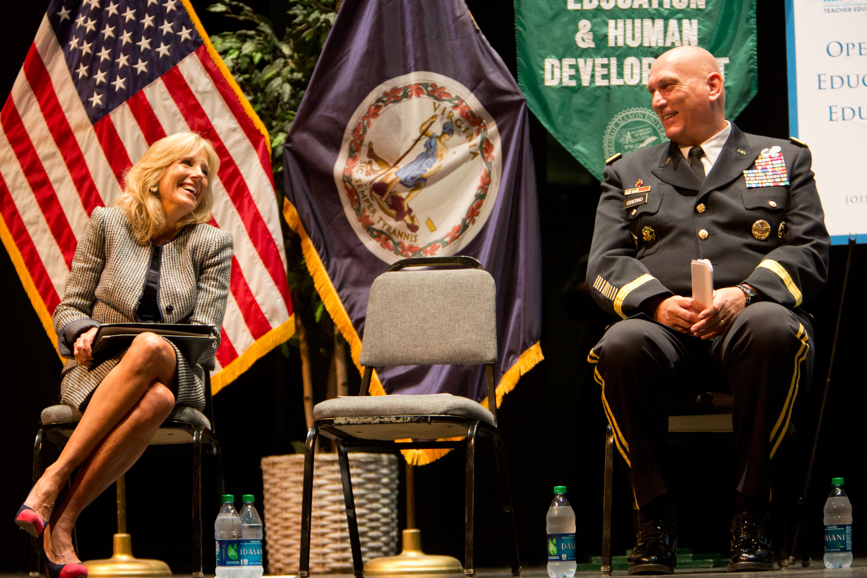 Dr. Jill Biden and Chief of Staff of the Army General Ray Odierno laugh during a Joining Forces event (October 3, 2012)