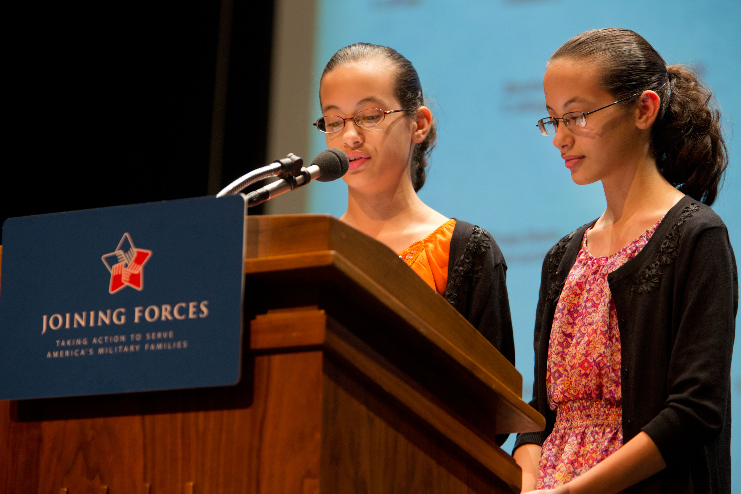 Felicity and Abigail Horan introduce Dr. Jill Biden at a Joining Forces event (October 3, 2012)