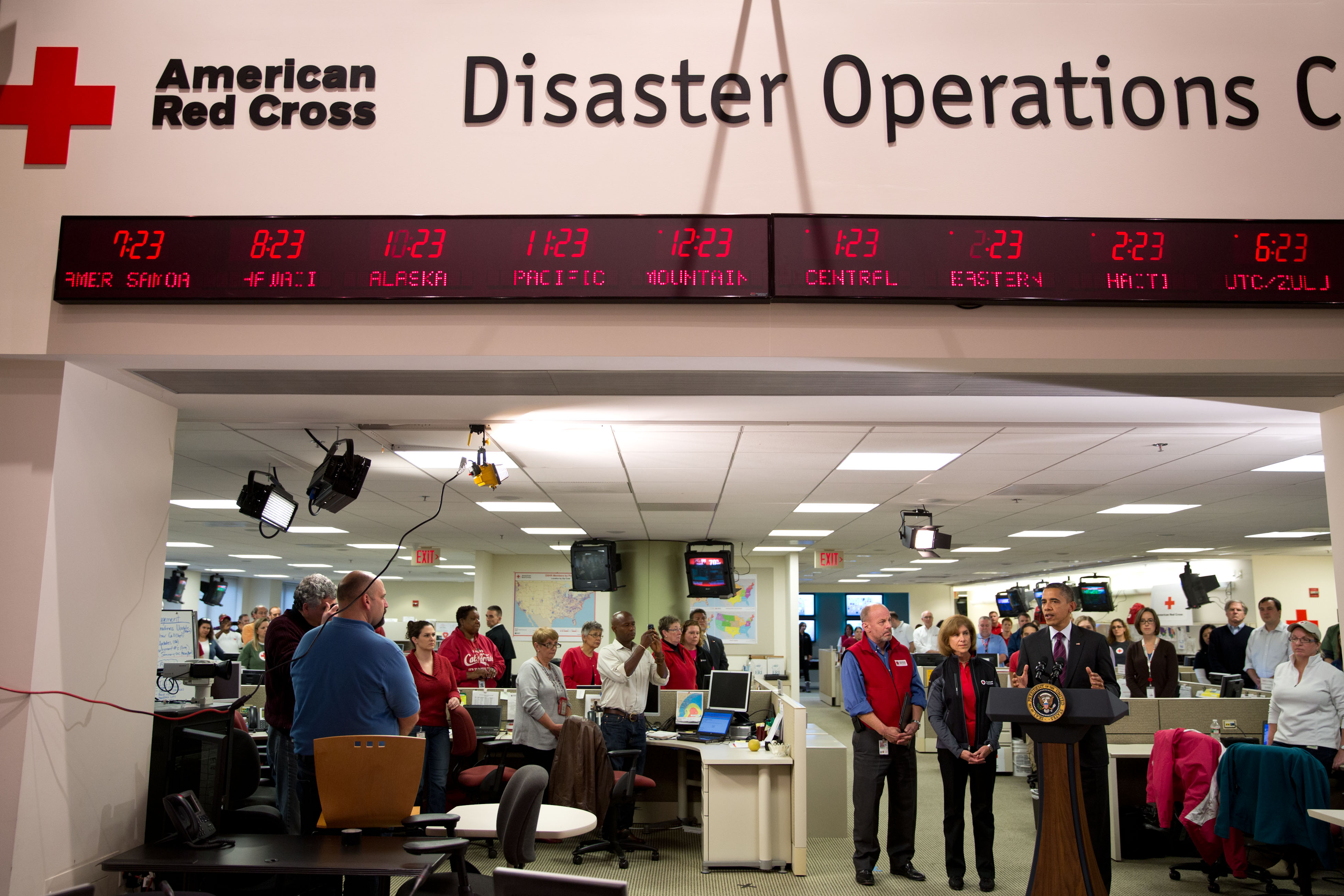 President Obama delivers remarks during his visit to the Disaster Operation Center at the Red Cross