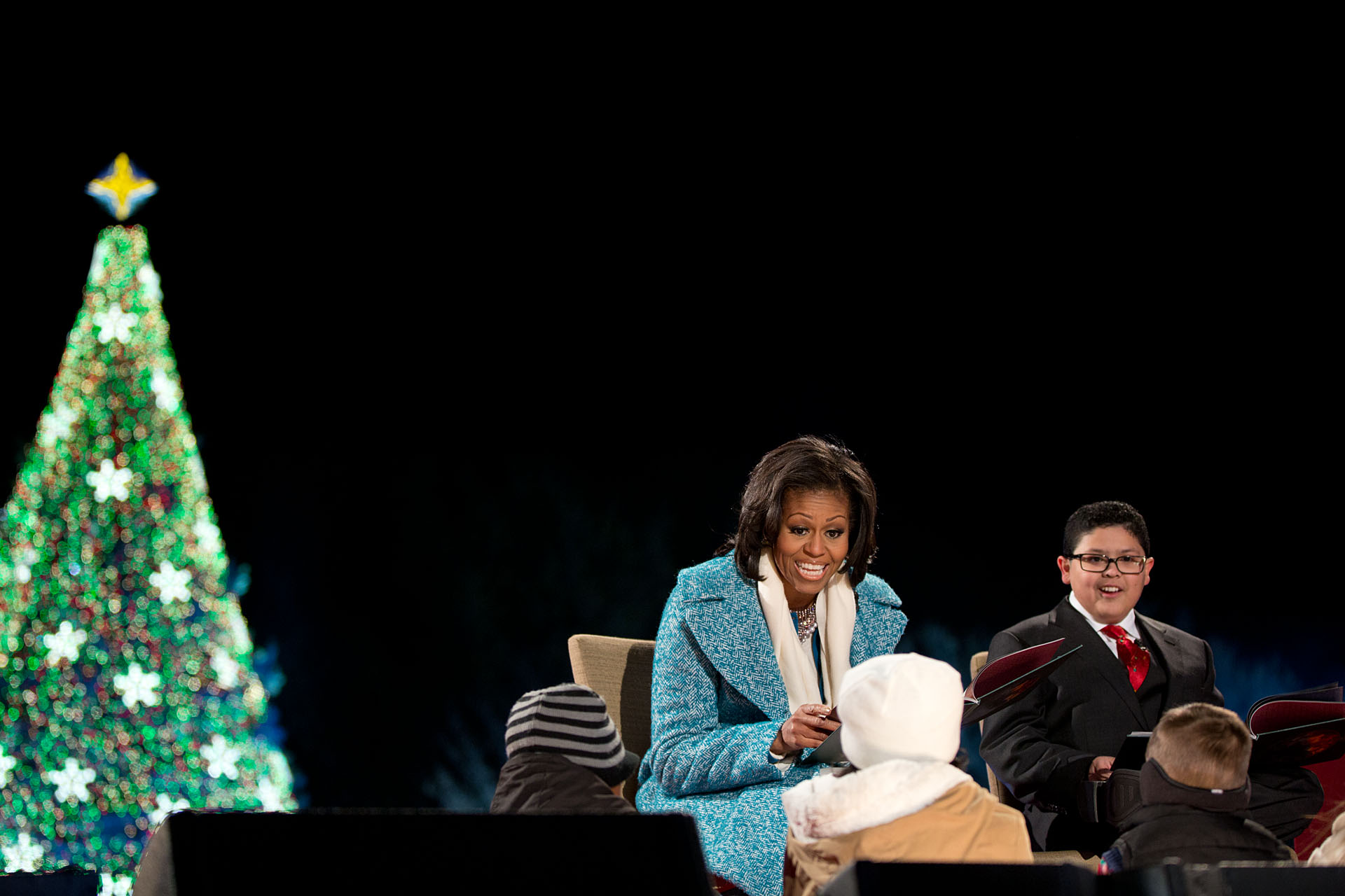 "First Lady Michelle Obama reads ""'Twas the Night Before Christmas"" with Rico Rodriguez (December 6, 2012)"