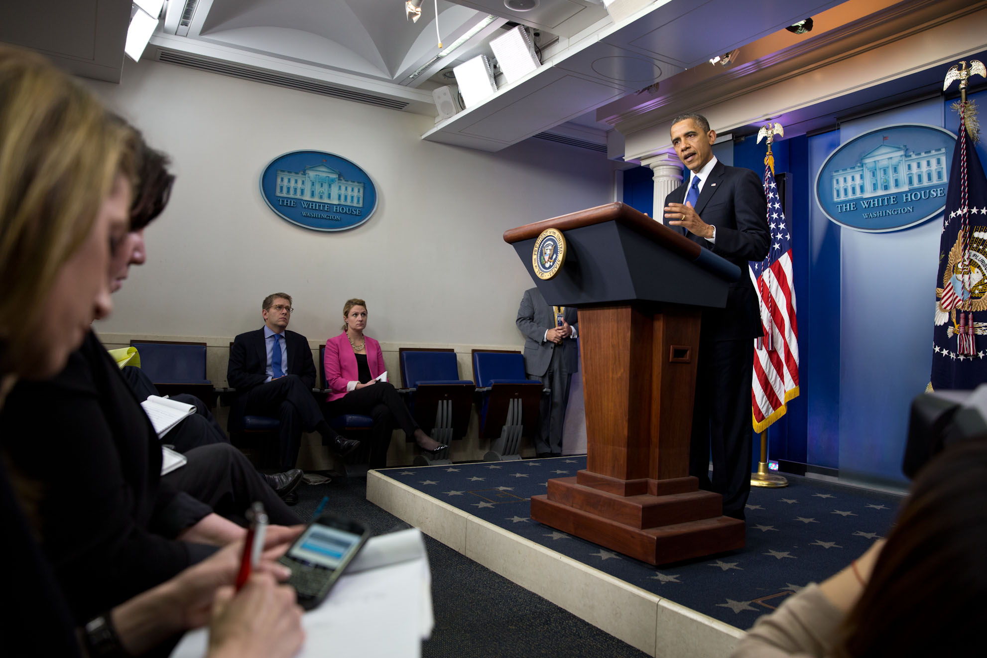 President Barack Obama delivers a statement to the press in the Brady Press Briefing Room (December 21, 2012)