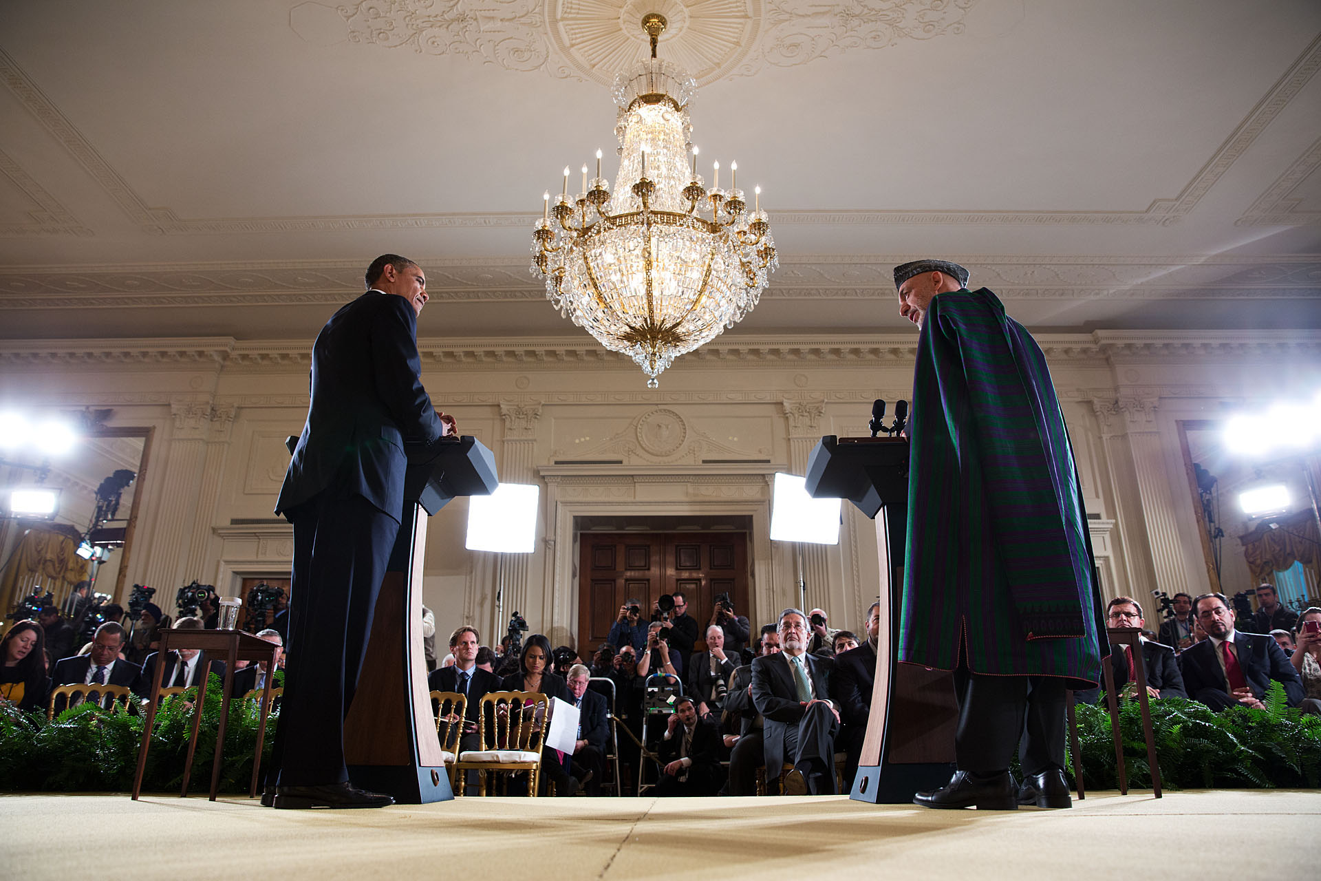 President Barack Obama and President Hamid Karzai of Afghanistan participate in a joint press conference (January 11, 2013)