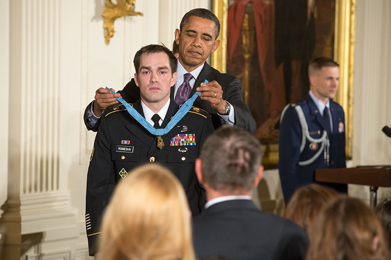 President Barack Obama awards Staff Sergeant Clinton Romesha the Medal of Honor (February 11, 2013)