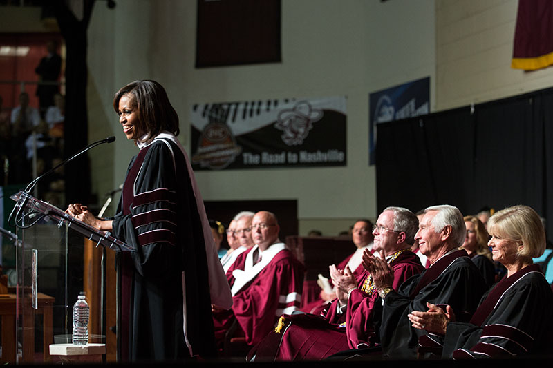 First Lady Michelle Obama delivers remarks during the Eastern Kentucky University commencement (May 11, 2013)
