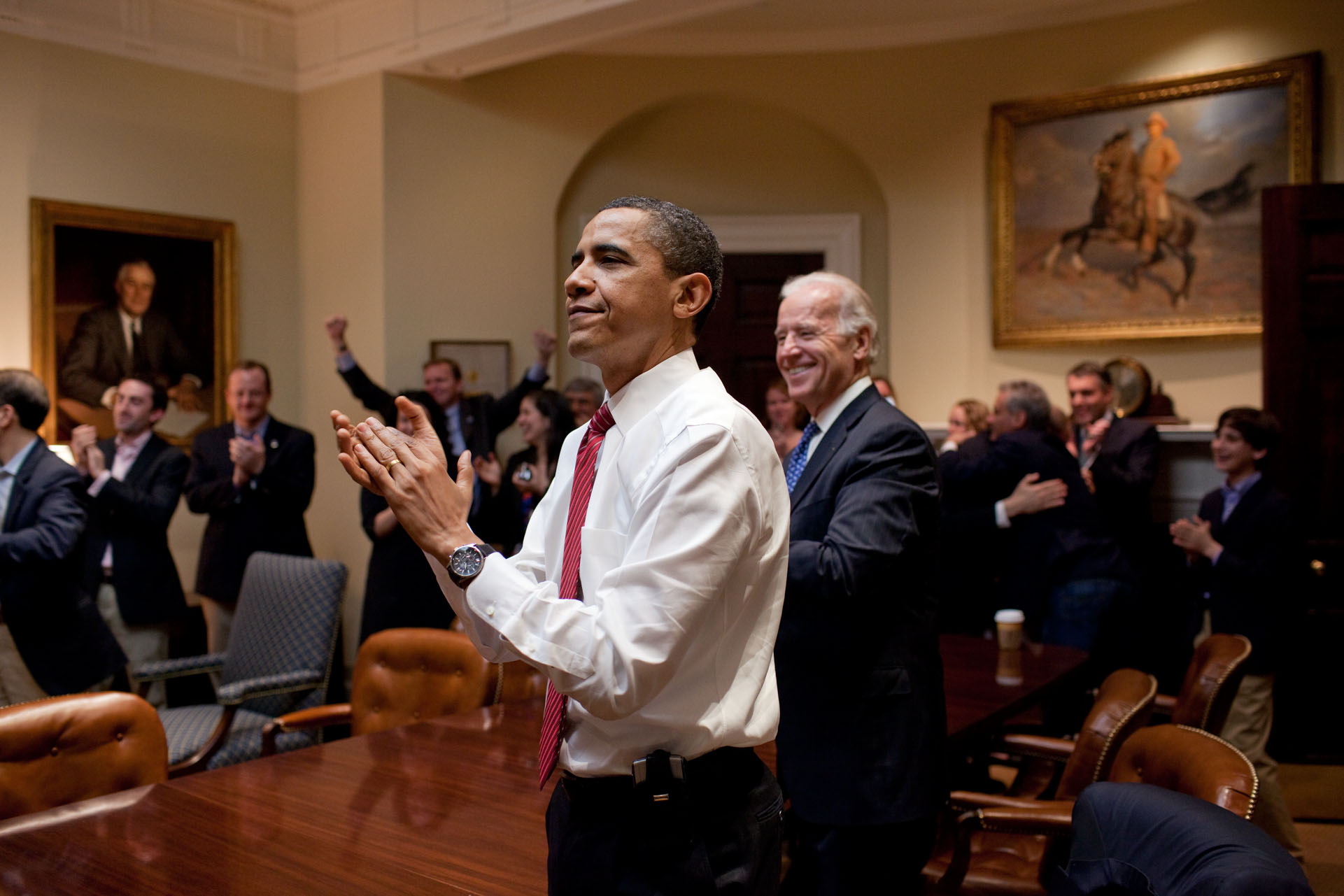 The President Celebrates Alongside The Vice President and Staff as Health Reform Passes