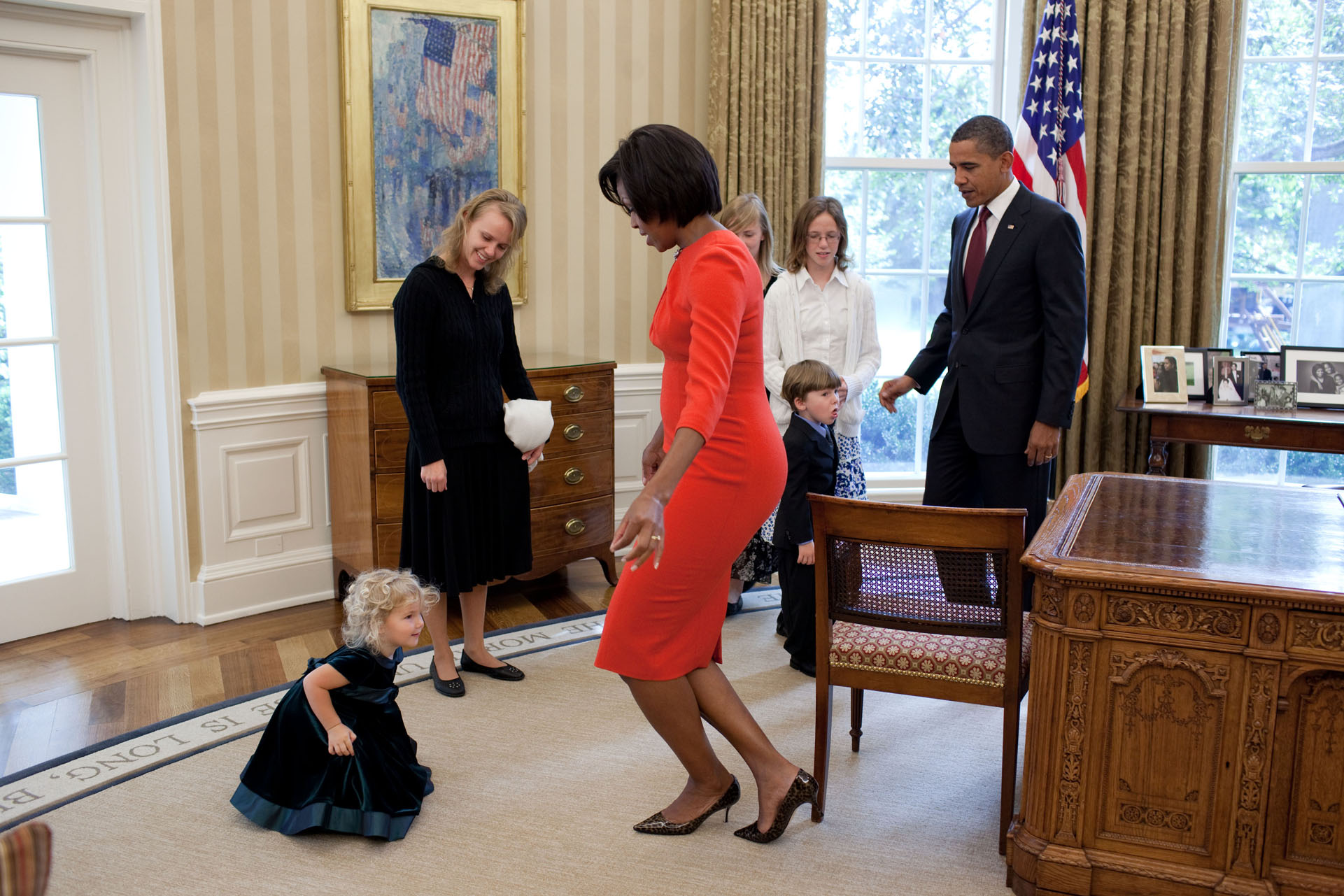 The First Lady Greets a Young Visitor in the Oval Office